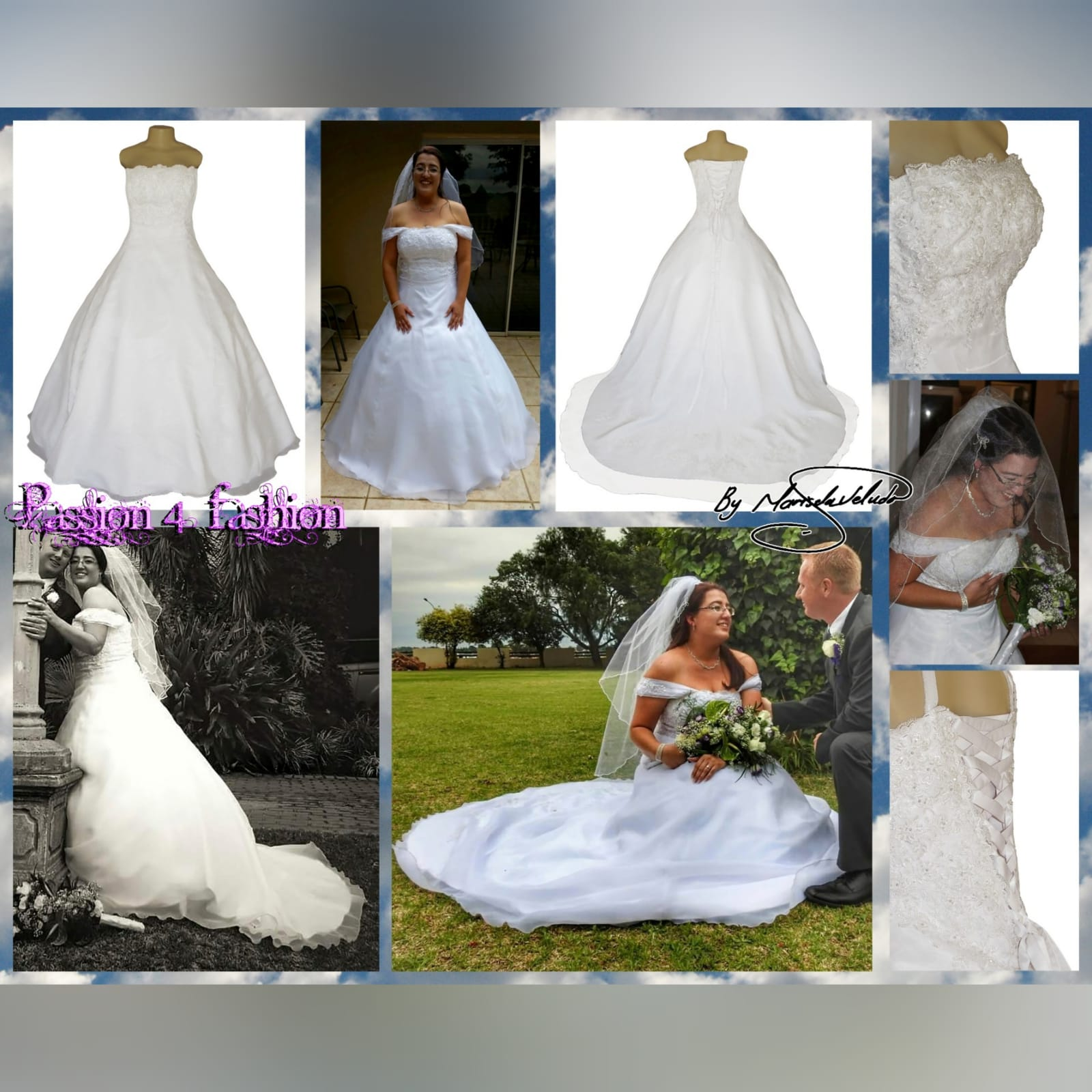 White organza a-line boob tube custom made wedding ball gown 6 white, organza, a-line, boob tube, custom-made wedding ball gown. Bodice detailed with lace. Lace-up back. With a train & removable off-shoulder pleated organza straps detailed with lace. With shimmer blush length veil.