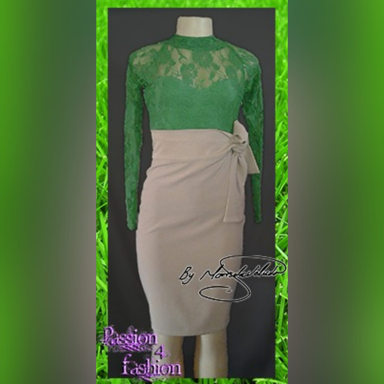 2 piece beige and green smart casual outfit 1 2 piece beige and green smart casual outfit. A pencil skirt with a tie-up waistband. With a lace top with long sleeve.