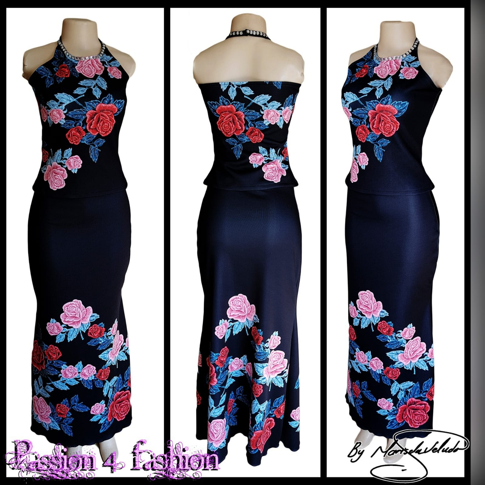 2 piece black floral evening wear 2 2 piece black floral evening wear with a fitted long skirt and halter neck top.