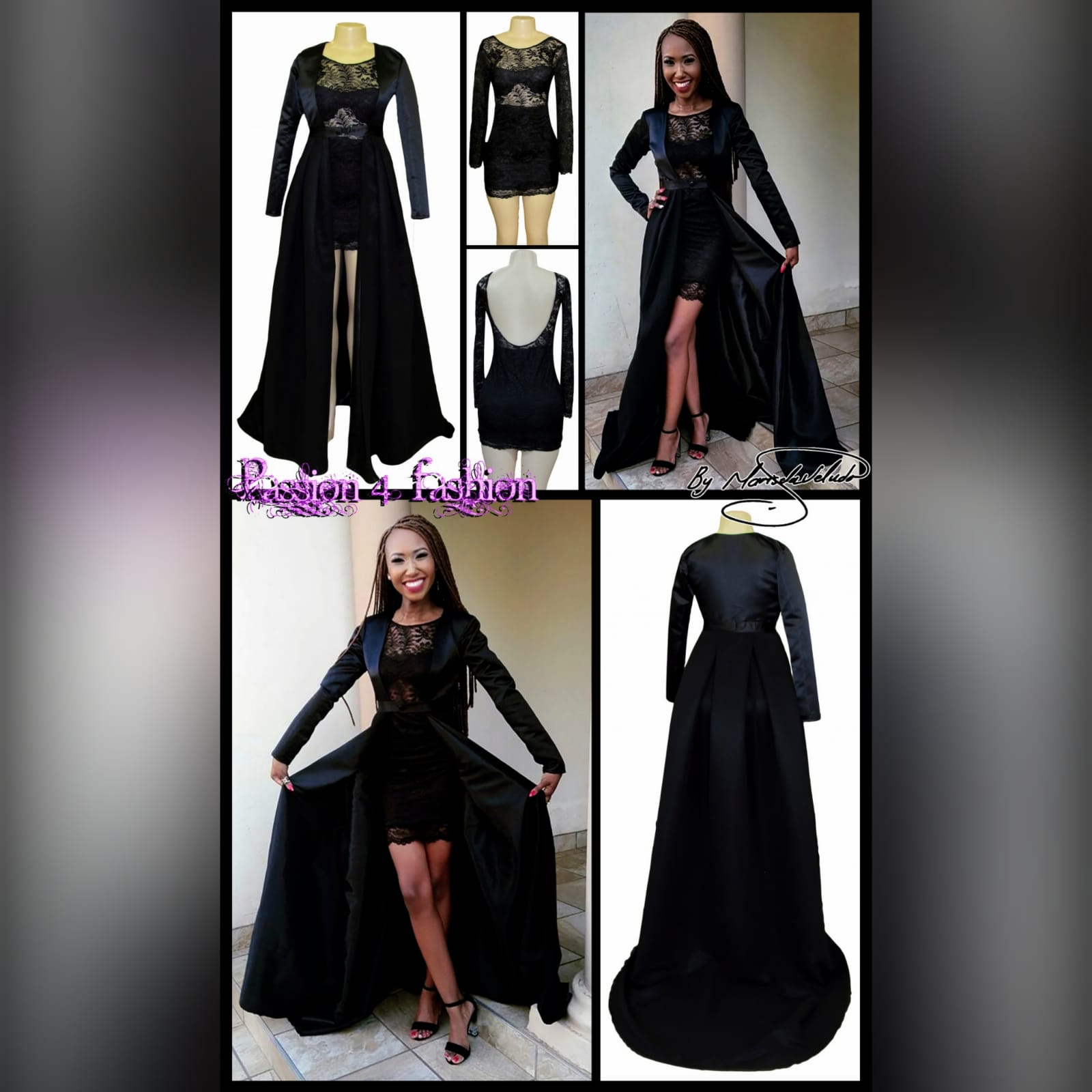 2 piece black lace mini matric dance dress and coat 6 2 piece black lace mini matric dance dress and coat. Dress with rounded open back and a sheer lace bodice.