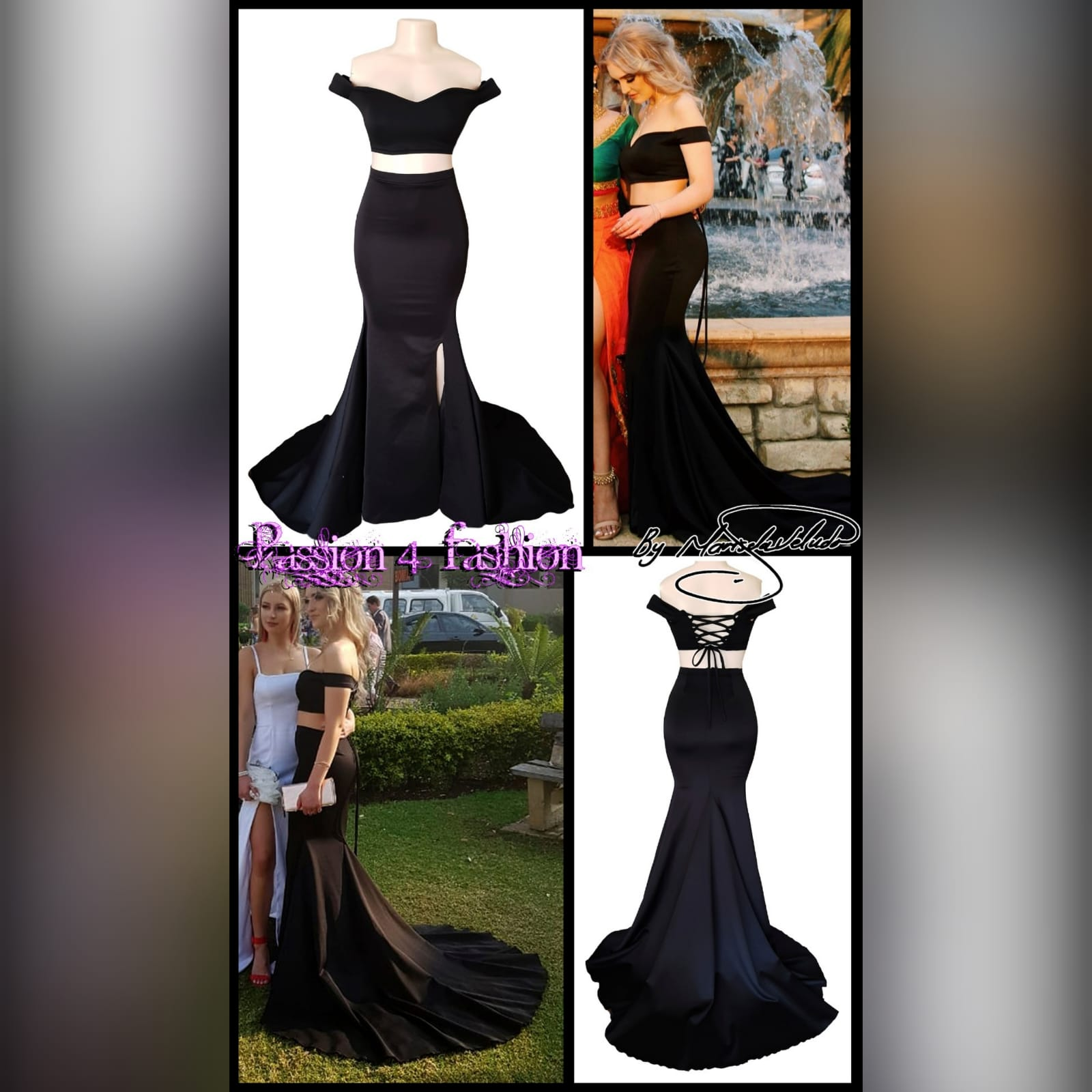 2 piece black off shoulder matric dance dress with a crop top 5 2 piece black off shoulder matric dance dress with a crop top. Lace-up back. Long skirt with knee length slit and a train.