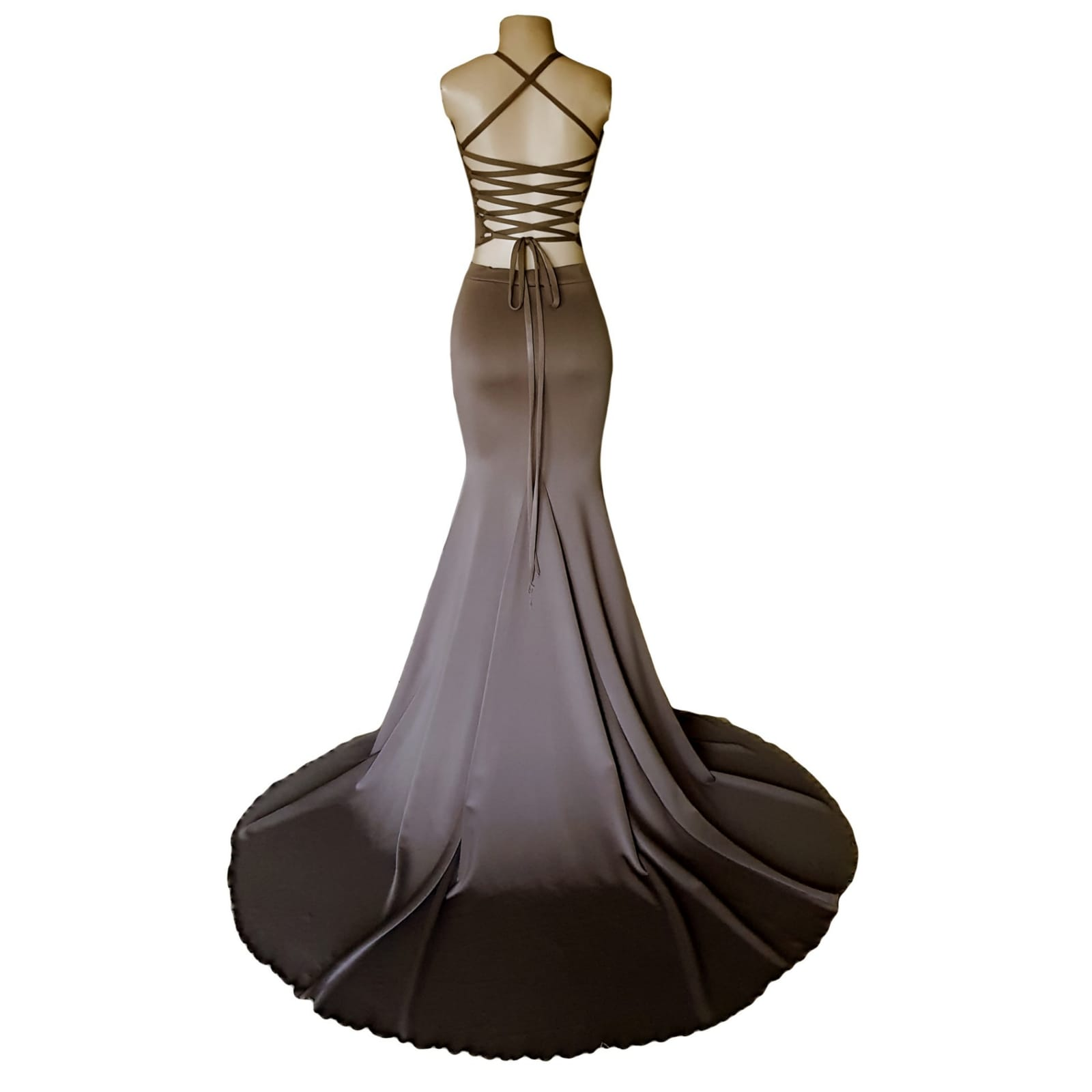 2 piece brown gray prom dress 4 2 piece brown gray prom dress. Skirt as a soft mermaid. Top with an open lace up back. Bust detailed with sequins. With a long train.