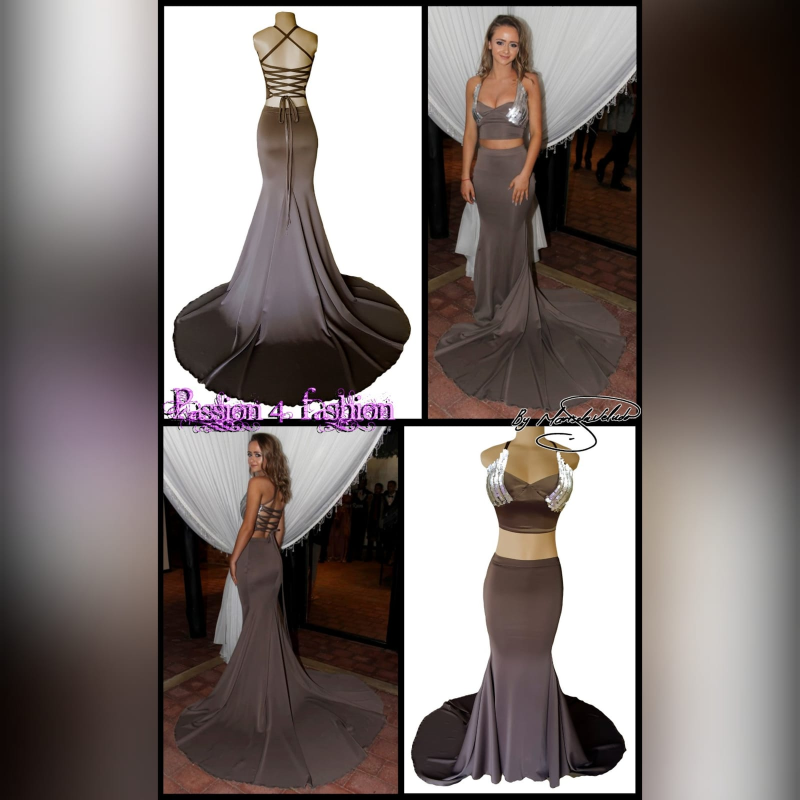 2 piece brown gray prom dress 6 2 piece brown gray prom dress. Skirt as a soft mermaid. Top with an open lace up back. Bust detailed with sequins. With a long train.