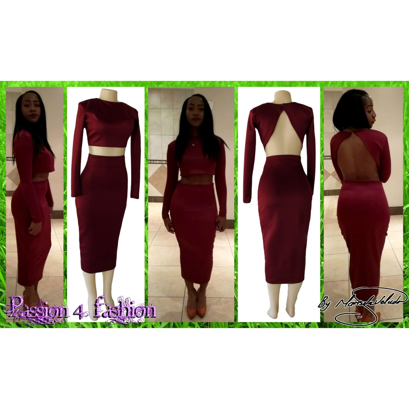 2 piece maroon tight fitting smart casual outfit 6 2 piece maroon tight fitting smart casual outfit. With a crop top, long sleeves and 3/4 length tight fitting skirt