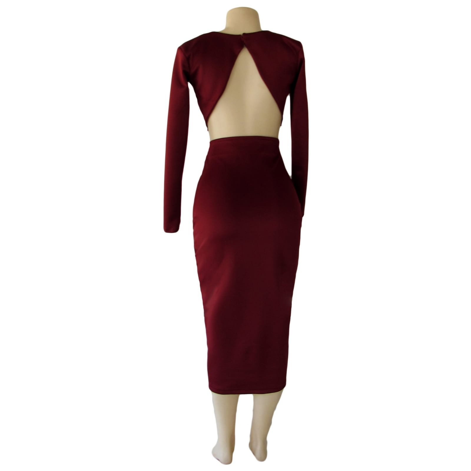 2 piece maroon tight fitting smart casual outfit 5 2 piece maroon tight fitting smart casual outfit. With a crop top, long sleeves and 3/4 length tight fitting skirt
