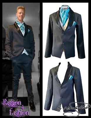 Black long fitted 2 piece mens formal suit