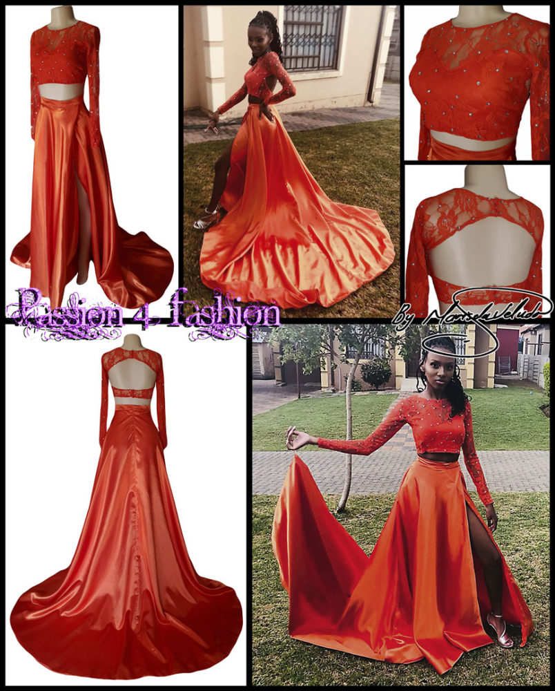 2 piece orange prom dress with a lace crop top detailed with silver beads. Flowy