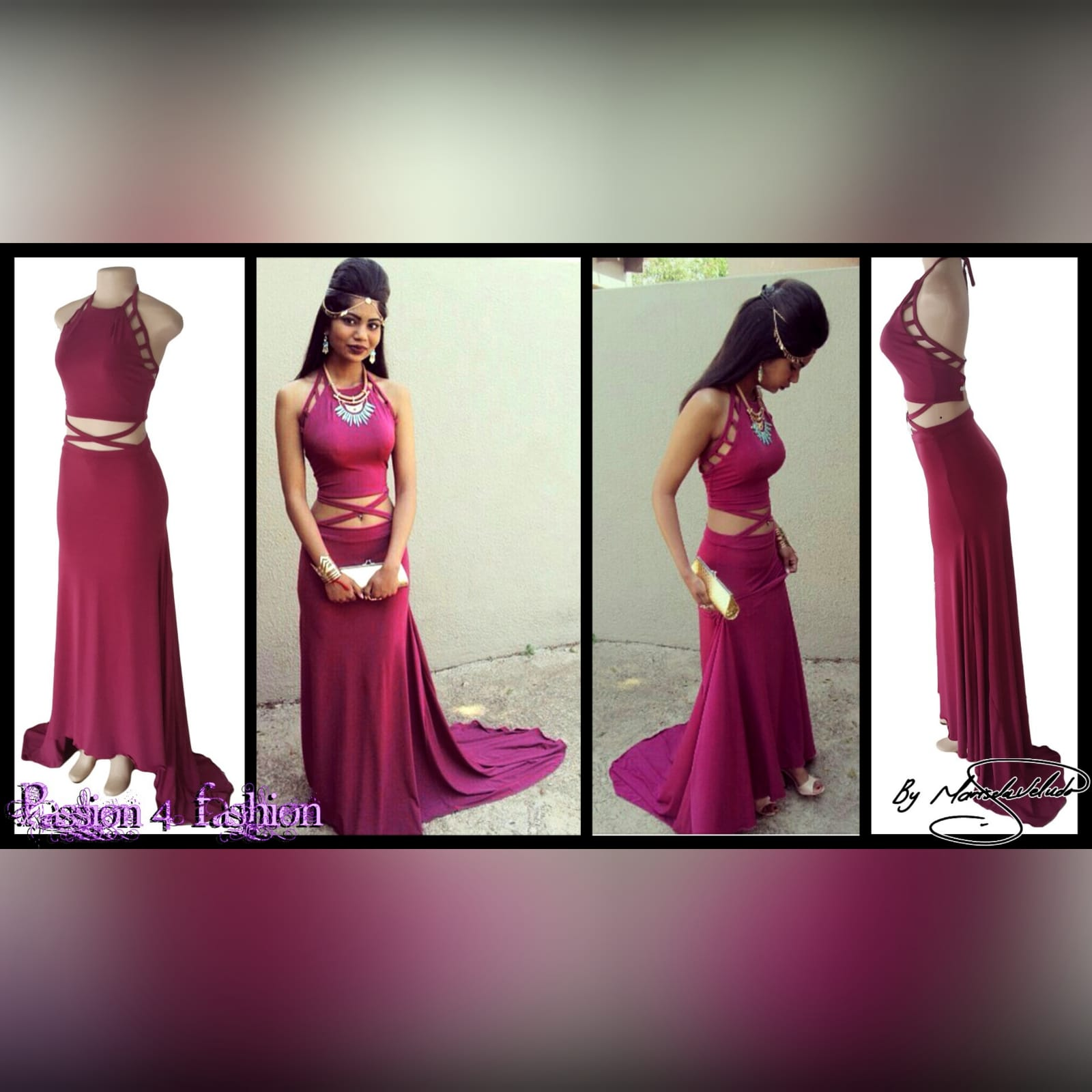 2 piece plum prom dance dress 5 2 piece plum prom dance dress. Halter neck crop top. Straps from the crop top create a cross that joins to the skirt. Skirt fitted till the hip and then very flowy with a long, wide train.