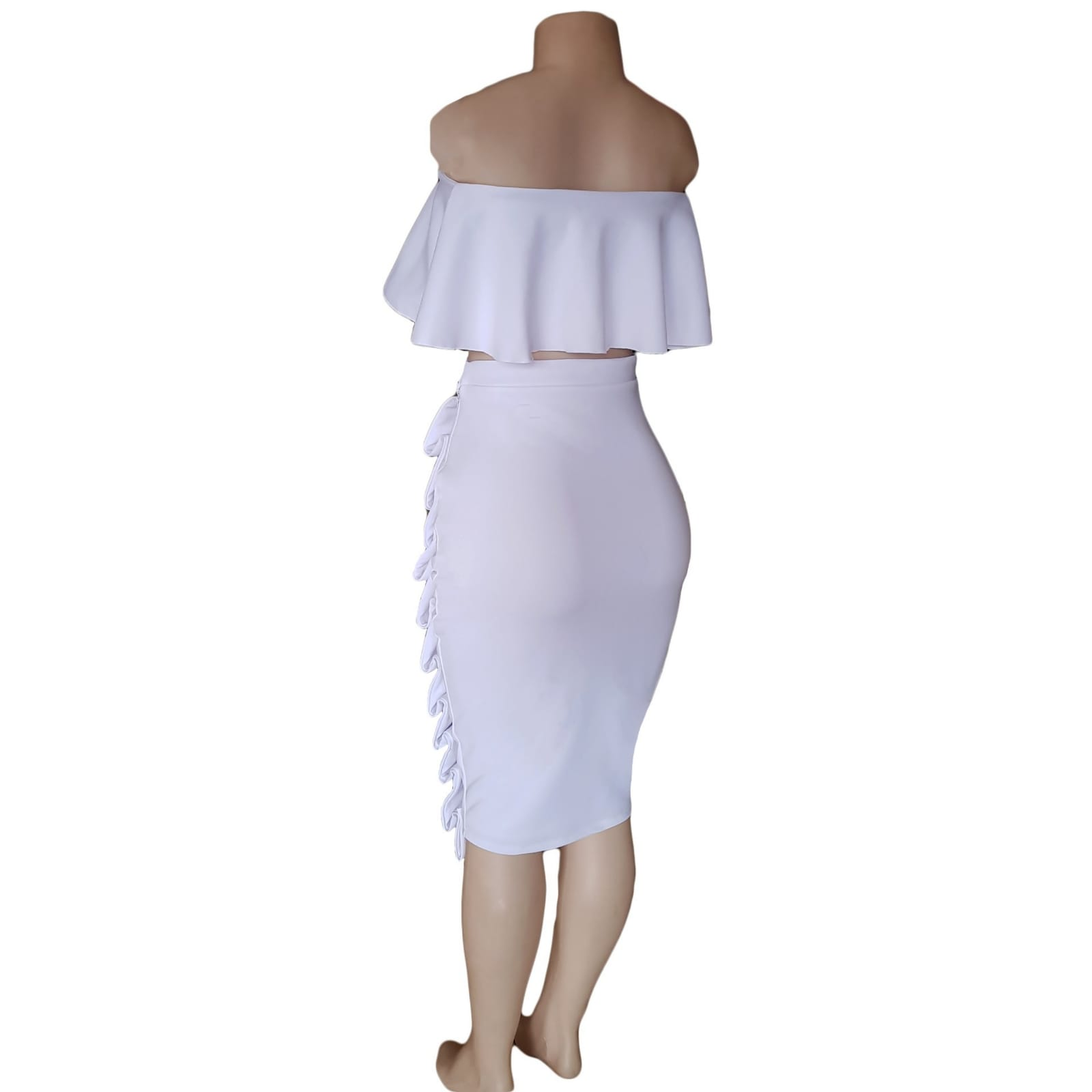 2 piece white smart casual wear 4 2 piece white smart casual wear. Crop boob tube frilled top with tight fitting below the knee skirt detailed with folds.