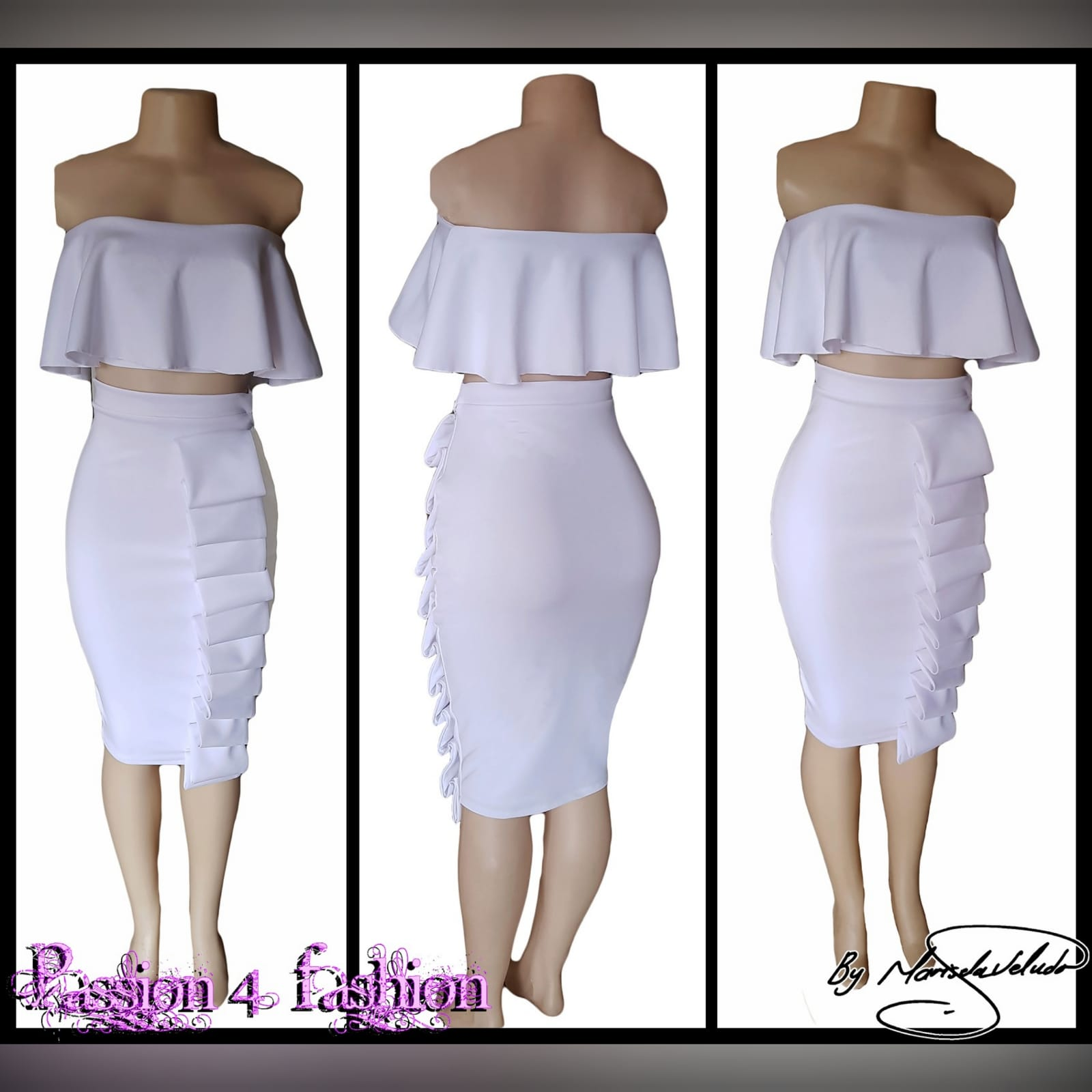 2 piece white smart casual wear 5 2 piece white smart casual wear. Crop boob tube frilled top with tight fitting below the knee skirt detailed with folds.