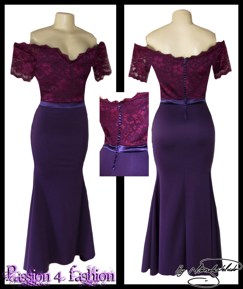 Off shoulder 2 tone purple soft mermaid bridesmaid dress with a lace bodice. Detailed with a satin belt and buttons.
