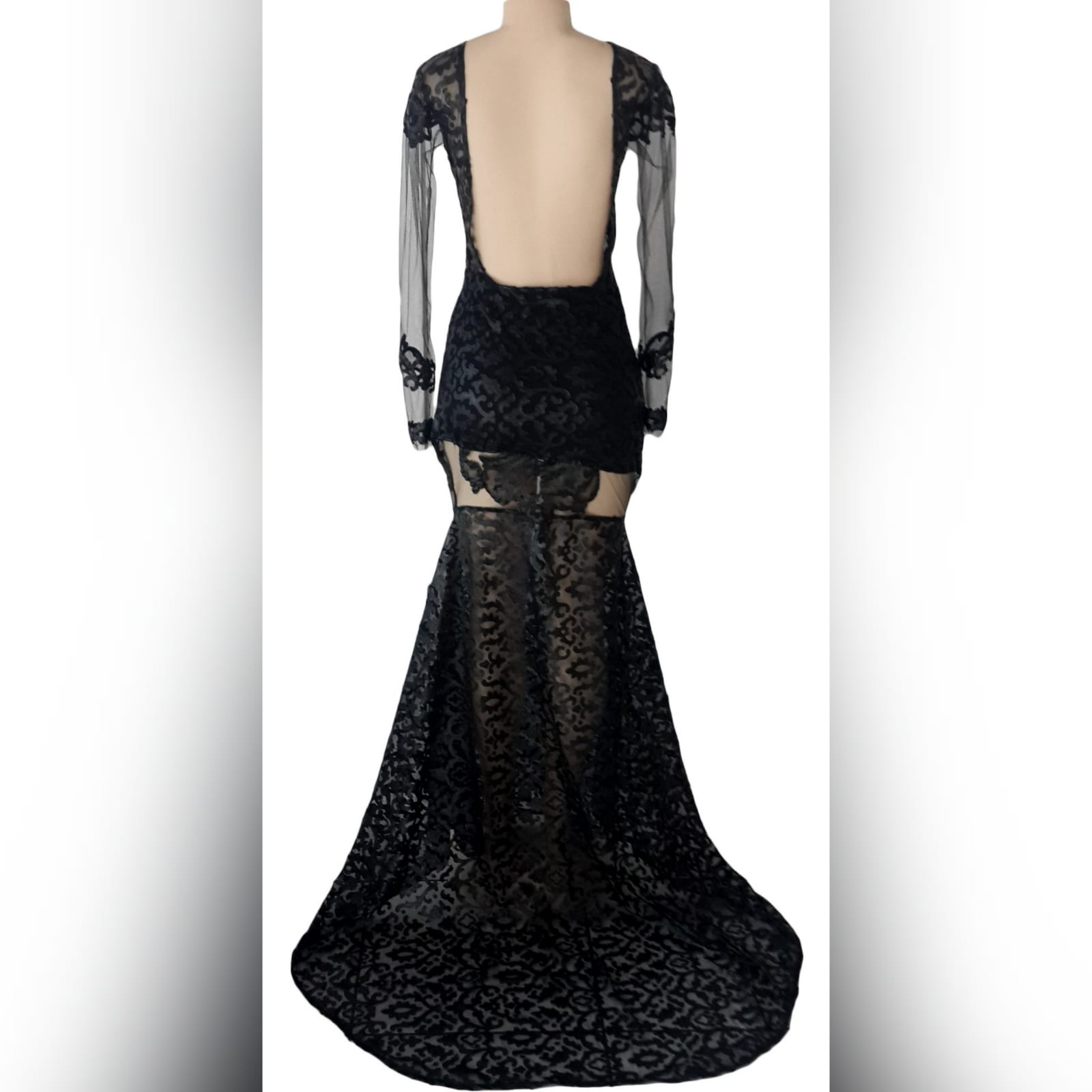 21st birthday party black dress 5 black long suede lace evening dress for 21st birthday party, with sheer black long sleeves and sheer thigh area, with a train and an open back