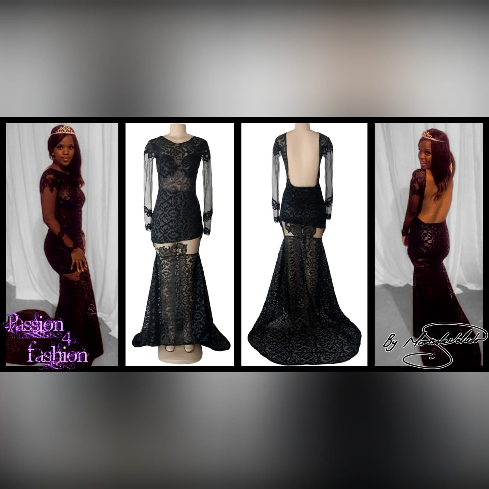 21st birthday party black dress 2 black long suede lace evening dress for 21st birthday party, with sheer black long sleeves and sheer thigh area, with a train and an open back
