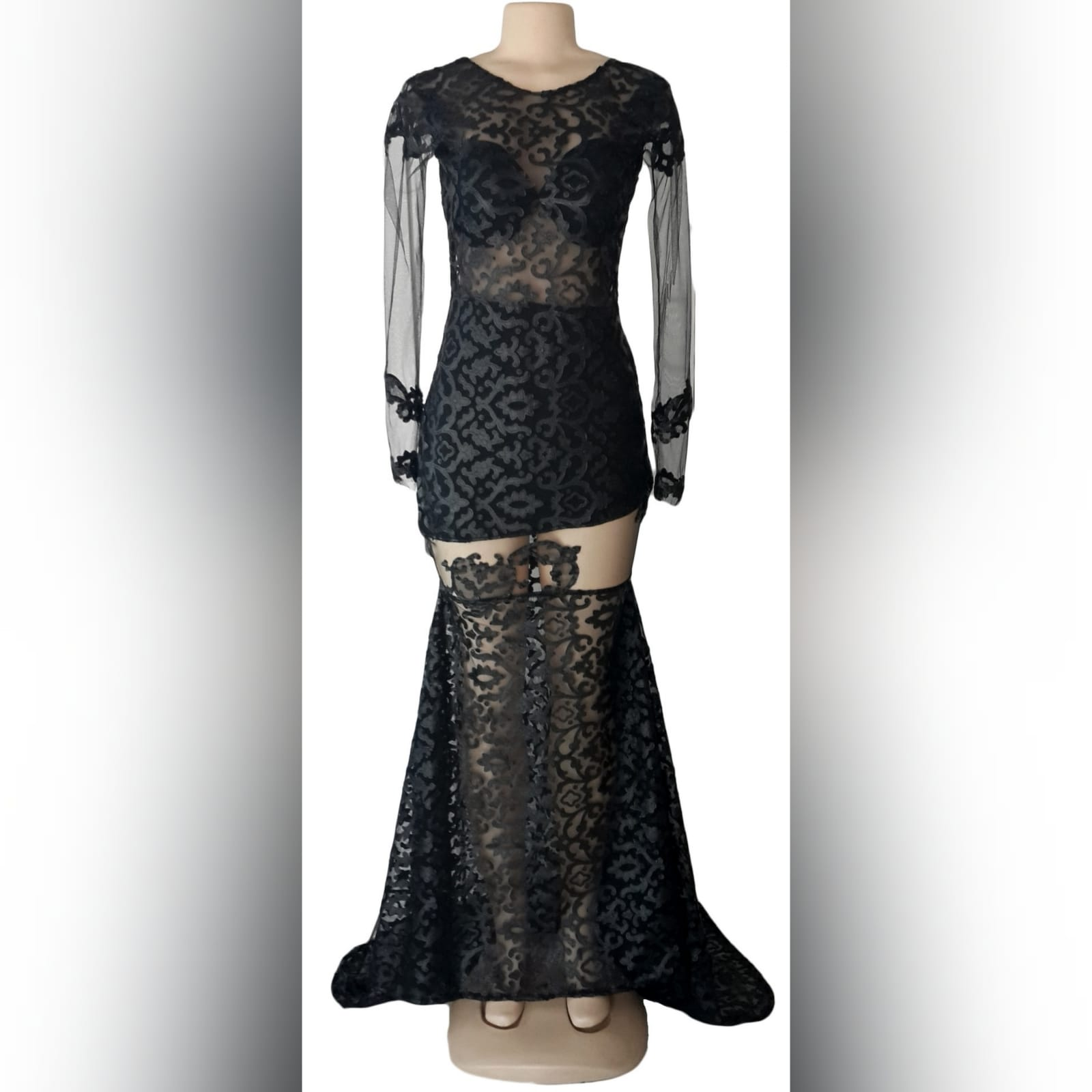 21st birthday party black dress 3 black long suede lace evening dress for 21st birthday party, with sheer black long sleeves and sheer thigh area, with a train and an open back