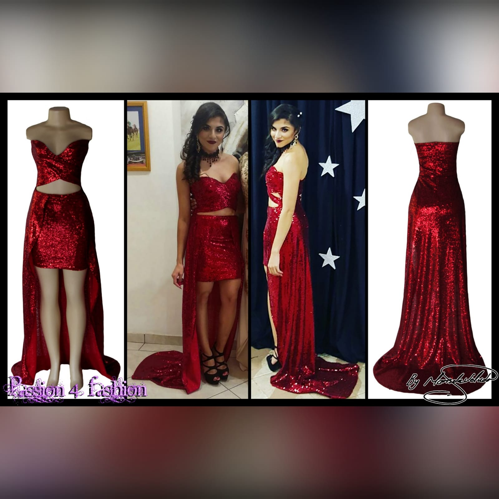 21st birthday party evening dress in red 5 red fully sequins evening dress for a 21st birthday party. The dress creates the illusion of a 2 piece with a cross busted bodice showing tummy, a short pencil skirt with a back overlayer creating a train.