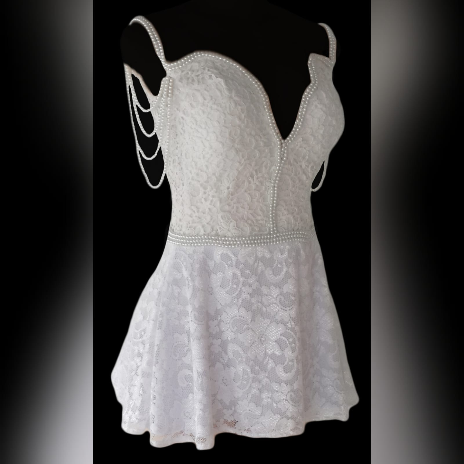 21st birthday party short evening dress 1 white short lace evening dress for a 21st birthday party. With a low v open back. Dress detailed with pearls