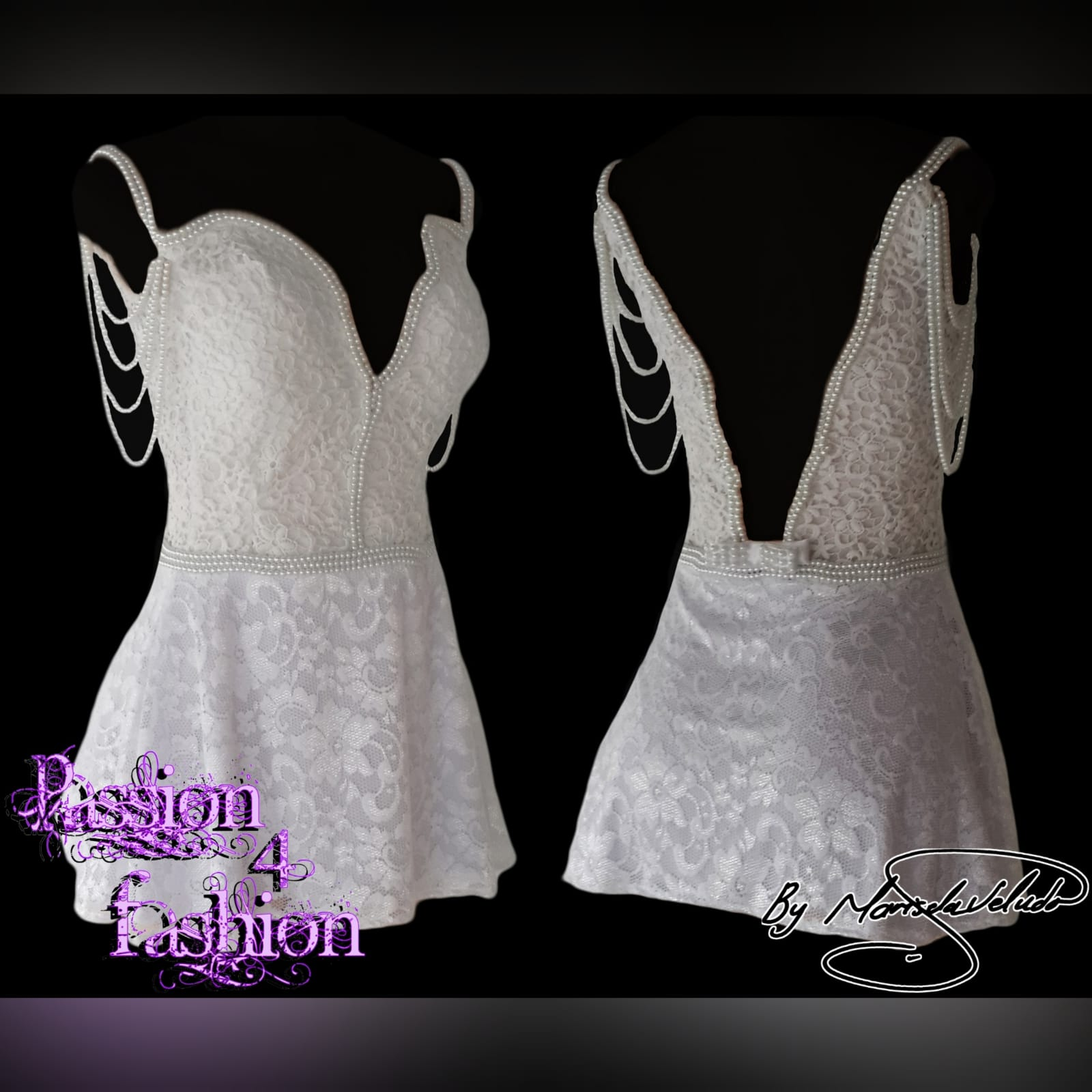 21st birthday party short evening dress 4 white short lace evening dress for a 21st birthday party. With a low v open back. Dress detailed with pearls