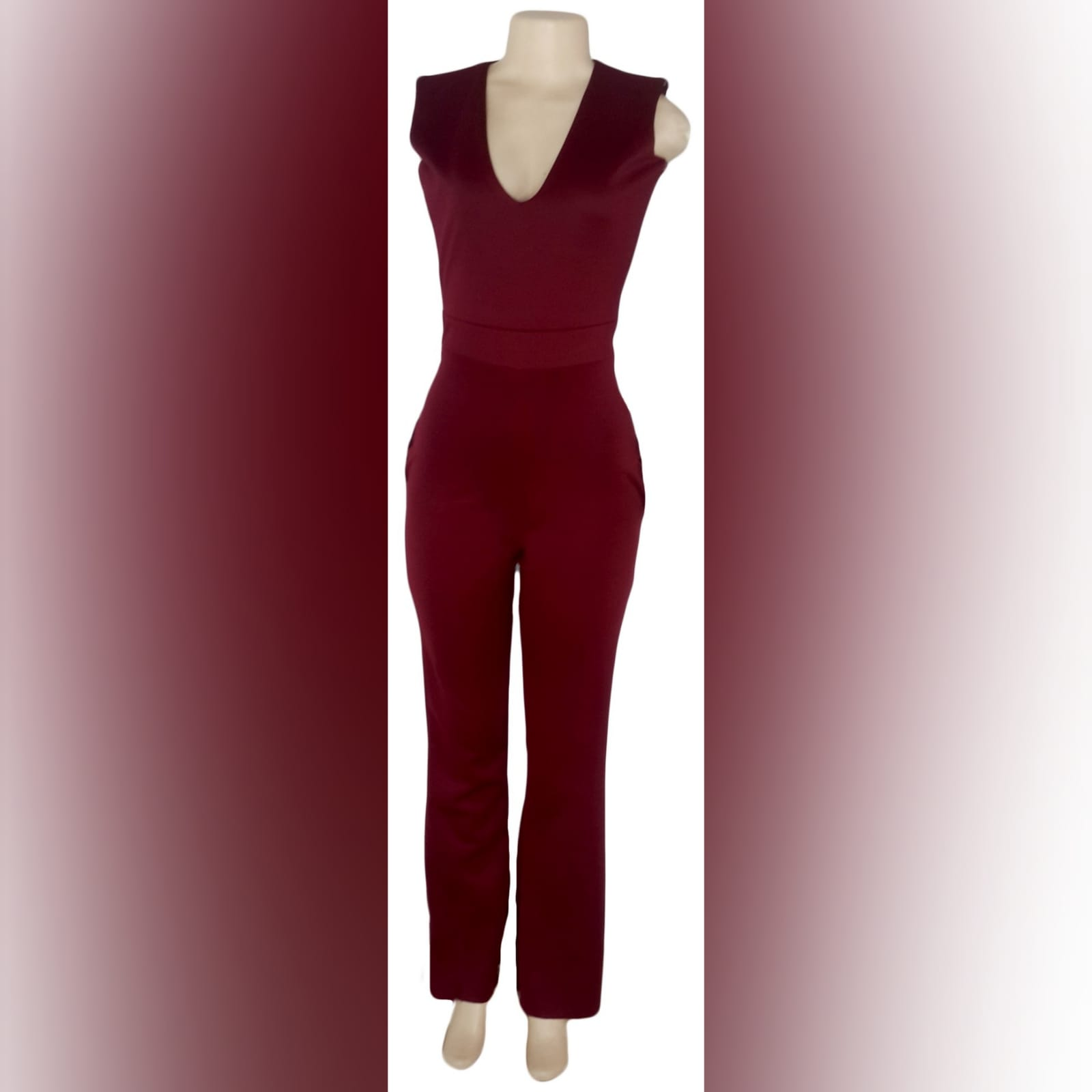 3 piece burgundy evening outfit 3 3 piece burgundy evening outfit. Bodysuit with a v neckline, with a removable peplum belt. With a removable shoulder cape