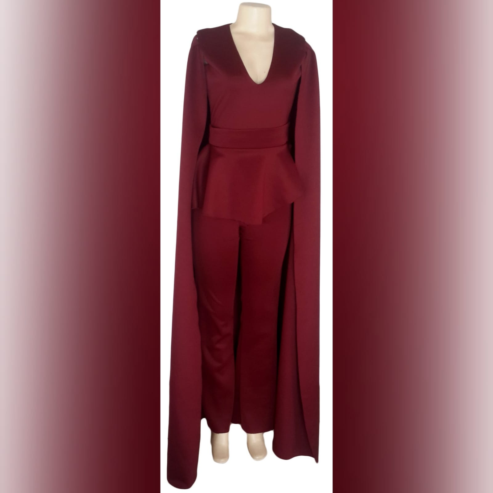 3 piece burgundy evening outfit 4 3 piece burgundy evening outfit. Bodysuit with a v neckline, with a removable peplum belt. With a removable shoulder cape