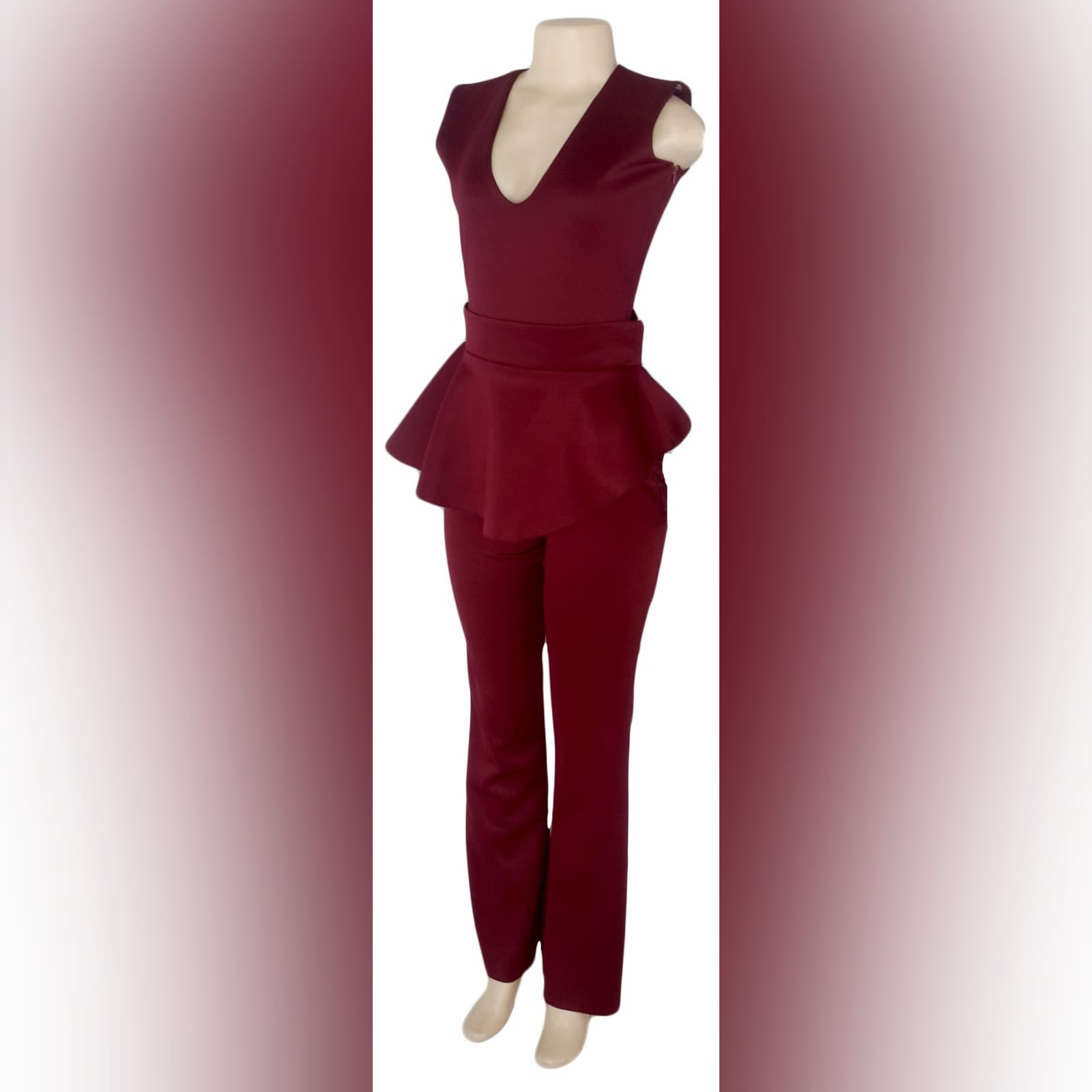 3 piece burgundy evening outfit 1 3 piece burgundy evening outfit. Bodysuit with a v neckline, with a removable peplum belt. With a removable shoulder cape