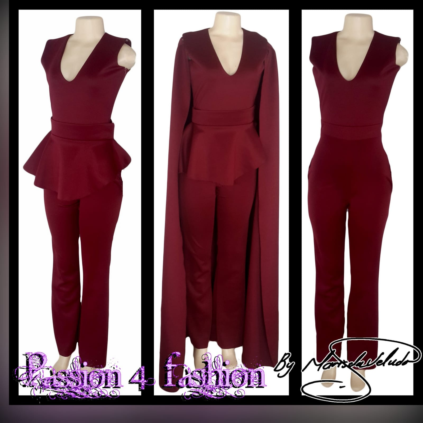3 piece burgundy evening outfit 5 3 piece burgundy evening outfit. Bodysuit with a v neckline, with a removable peplum belt. With a removable shoulder cape