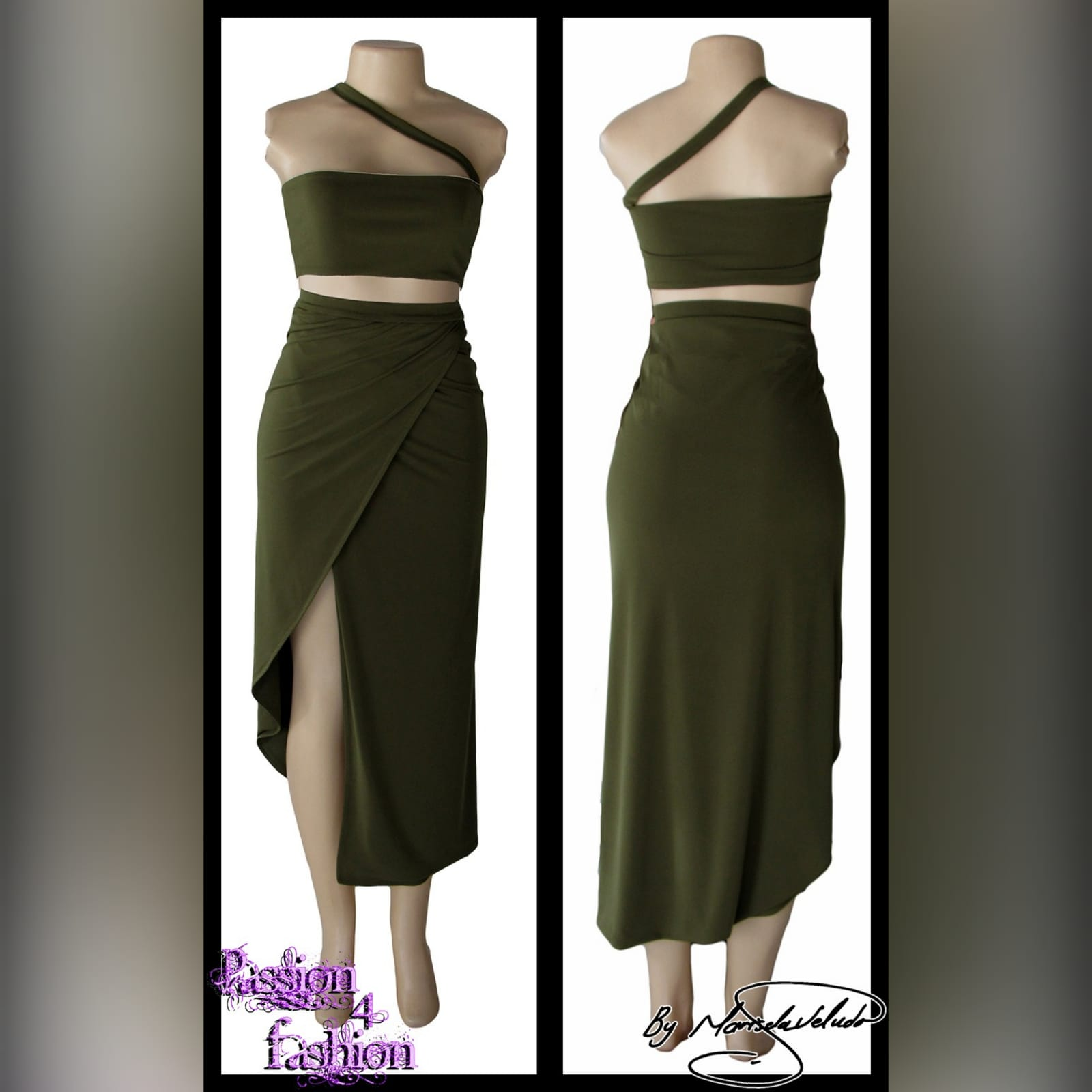Army green 2 piece smart casual outfit 2 army green 2 piece smart casual outfit with a crop top and a crossed slit fitted skirt