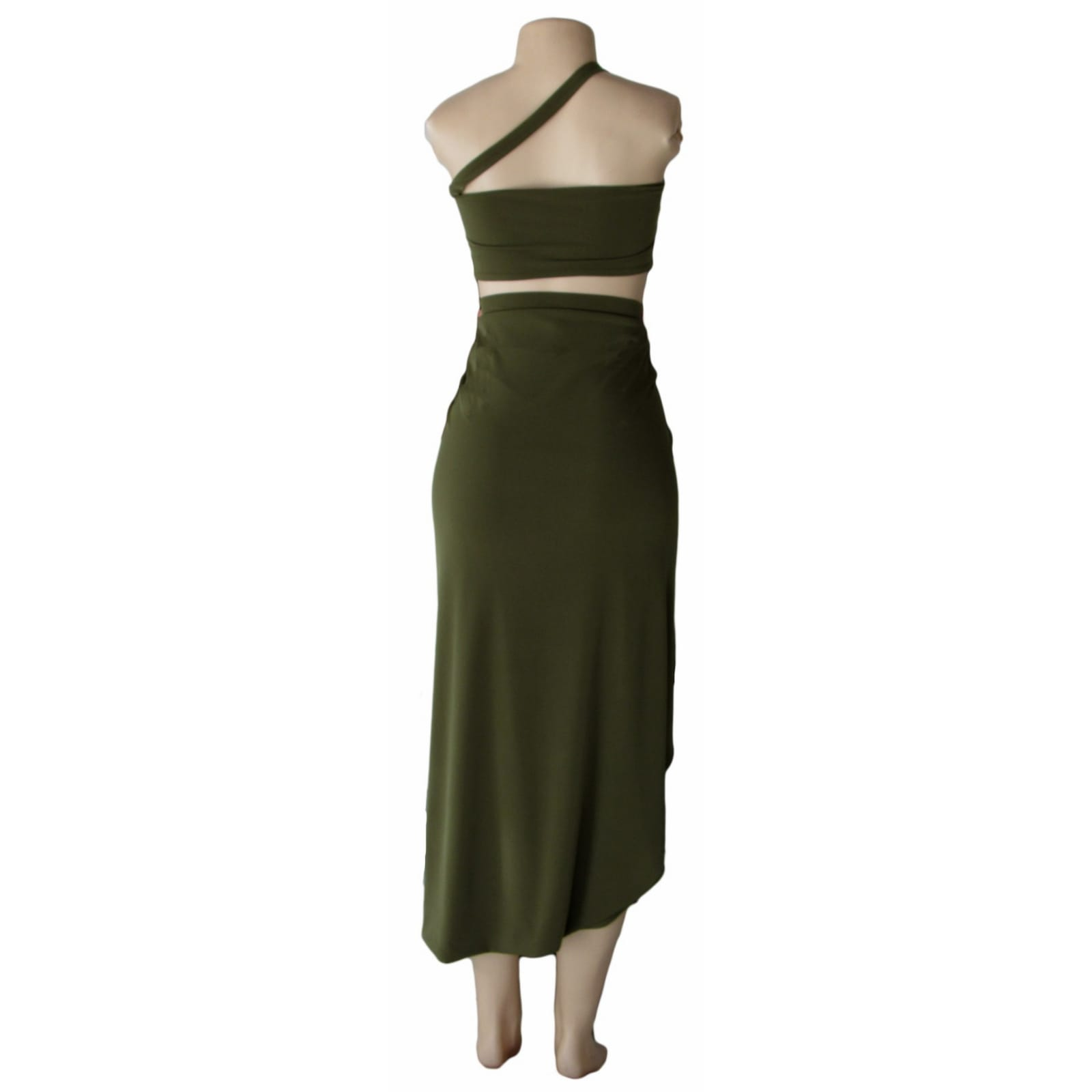 Army green 2 piece smart casual outfit 3 army green 2 piece smart casual outfit with a crop top and a crossed slit fitted skirt
