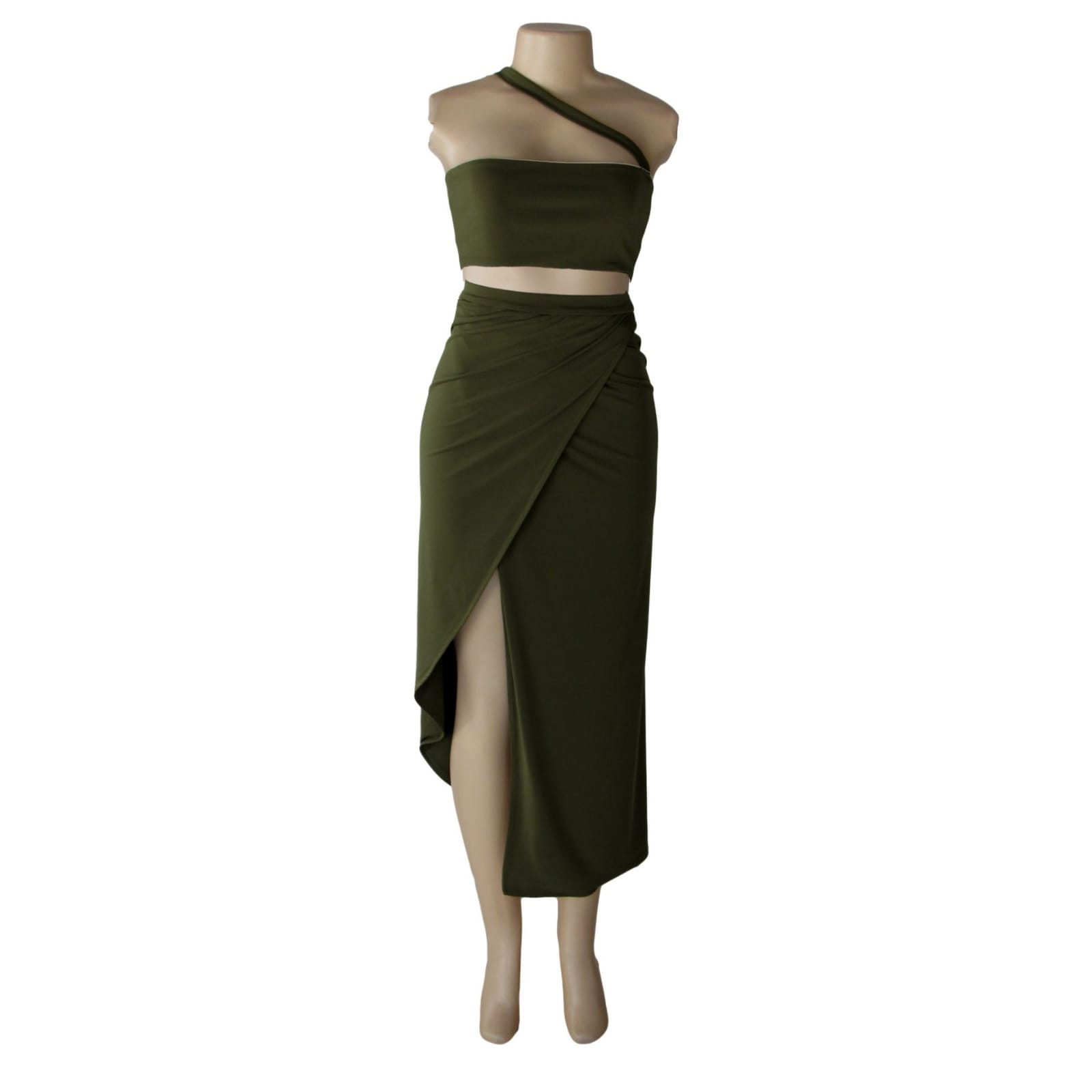 Army green 2 piece smart casual outfit 1 army green 2 piece smart casual outfit with a crop top and a crossed slit fitted skirt