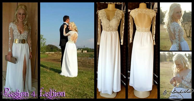 Ivory long chiffon and lace prom dress