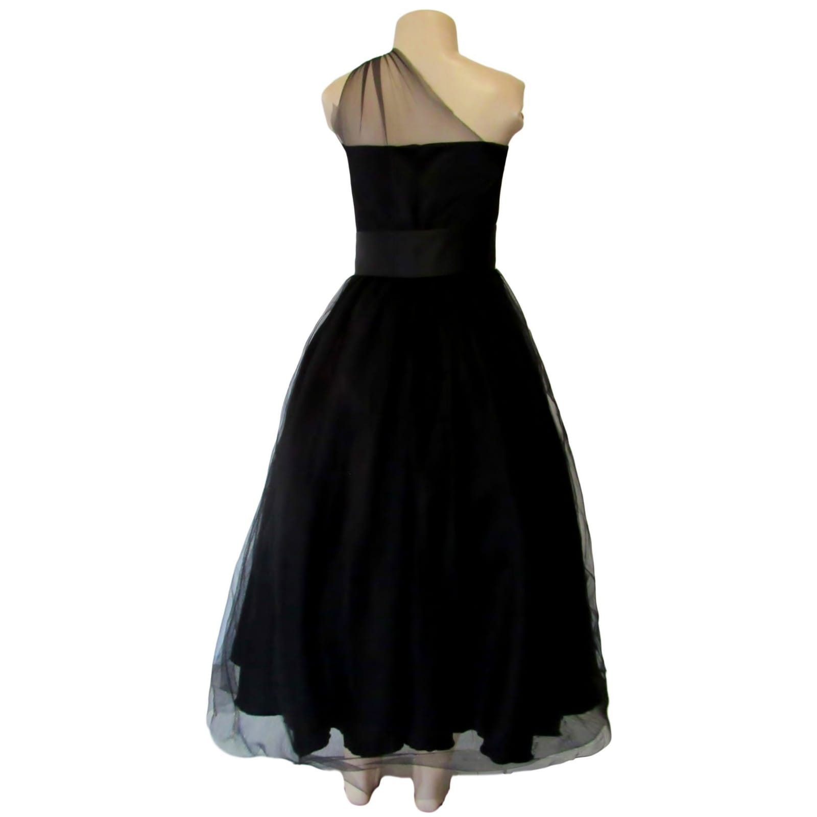 Back ankle length evening party dress 3 back ankle-length evening party dress, overlay with tulle, with a high waisted satin belt. Bodice with tulle creating a one-shoulder design