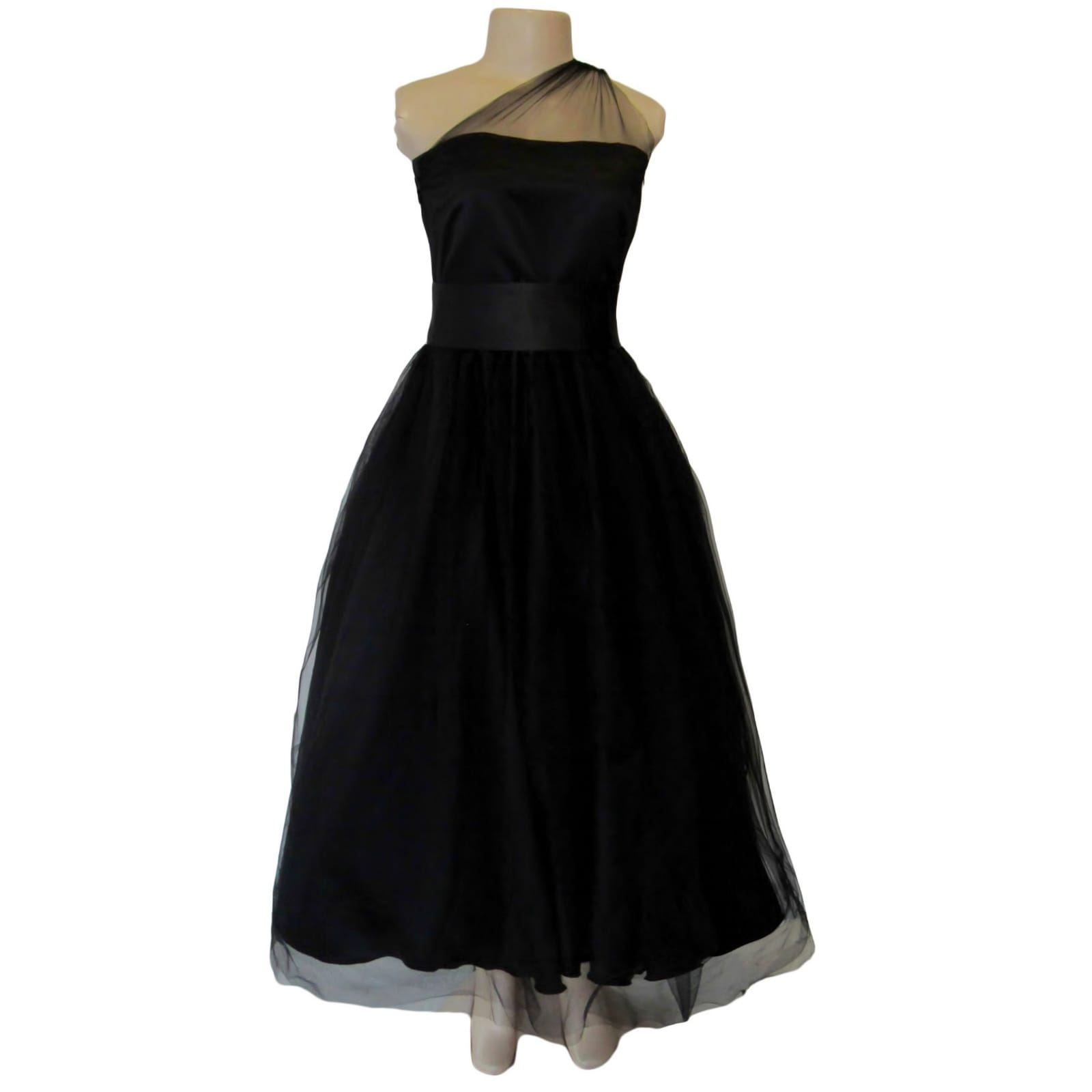 Back ankle length evening party dress 4 back ankle-length evening party dress, overlay with tulle, with a high waisted satin belt. Bodice with tulle creating a one-shoulder design