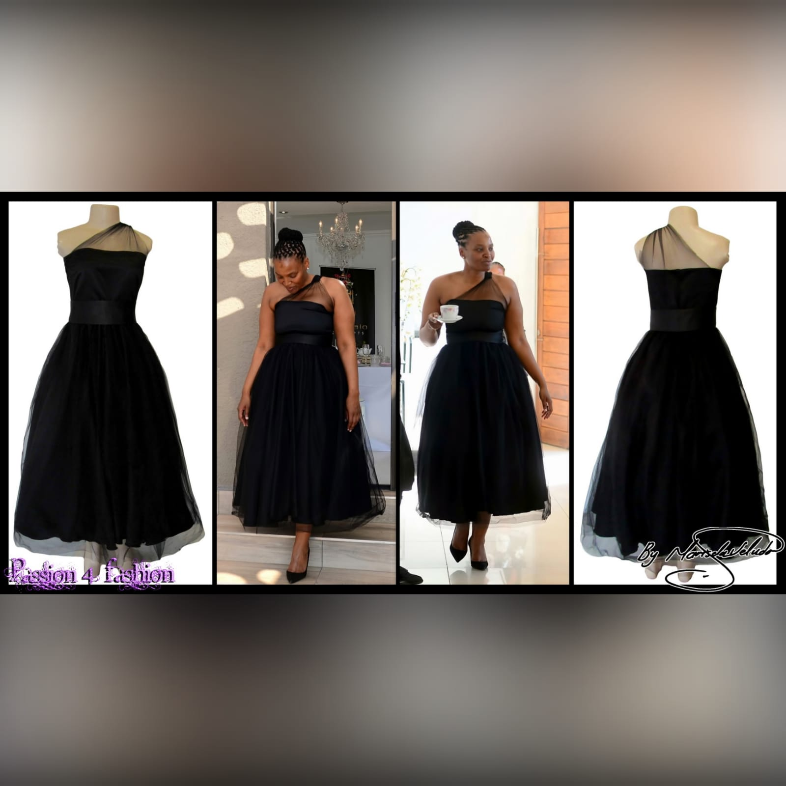 Back ankle length evening party dress 5 back ankle-length evening party dress, overlay with tulle, with a high waisted satin belt. Bodice with tulle creating a one-shoulder design