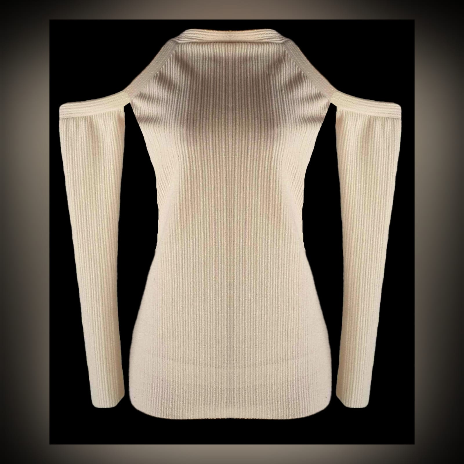Beige winter knitted smart casual top 2 beige winter knitted smart casual top, with off shoulder long sleeves
