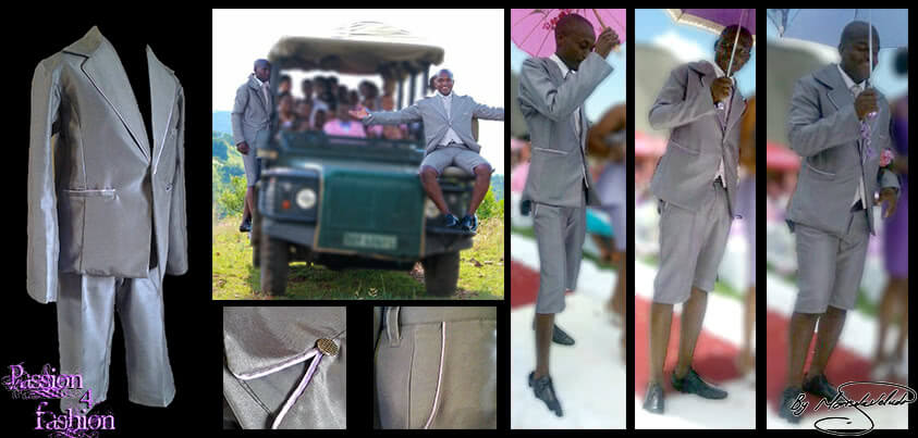Light grey 2 piece short leg mens formal suit for a wedding