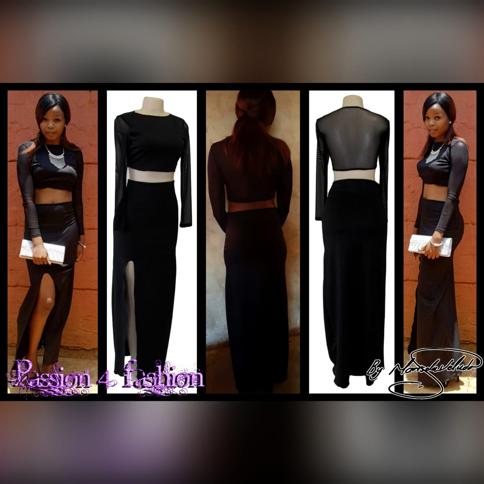 Black 2 piece smart casual dress 5 black 2 piece smart casual dress, with a crop top with long mesh sleeves, with a pencil long skirt with a slit