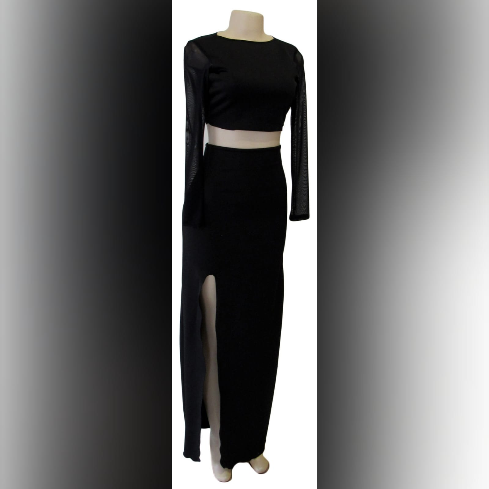 Black 2 piece smart casual dress 7 black 2 piece smart casual dress, with a crop top with long mesh sleeves, with a pencil long skirt with a slit