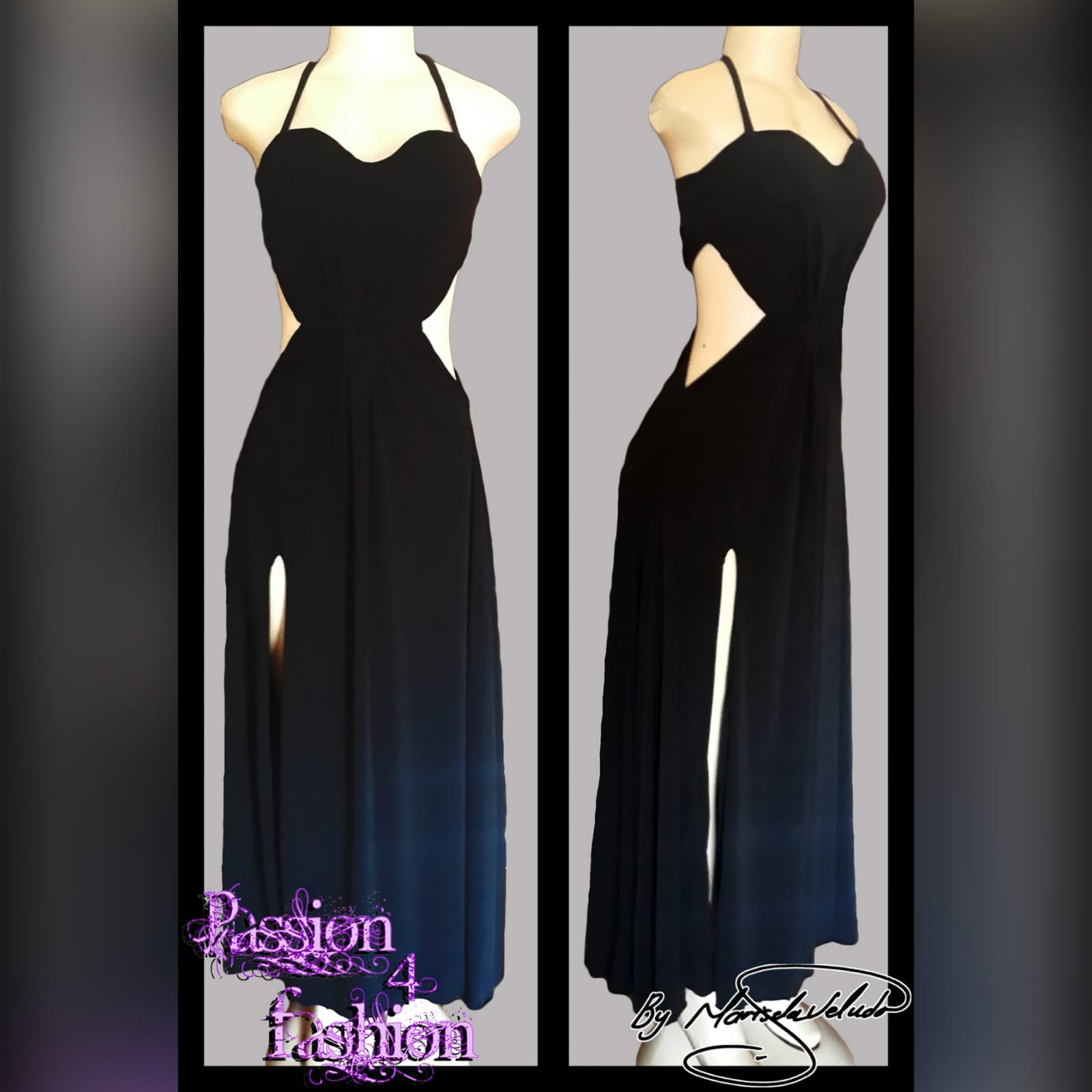 Black long flowy evening dress 3 black long flowy evening dress with side tummy openings, a slit and halter neck string