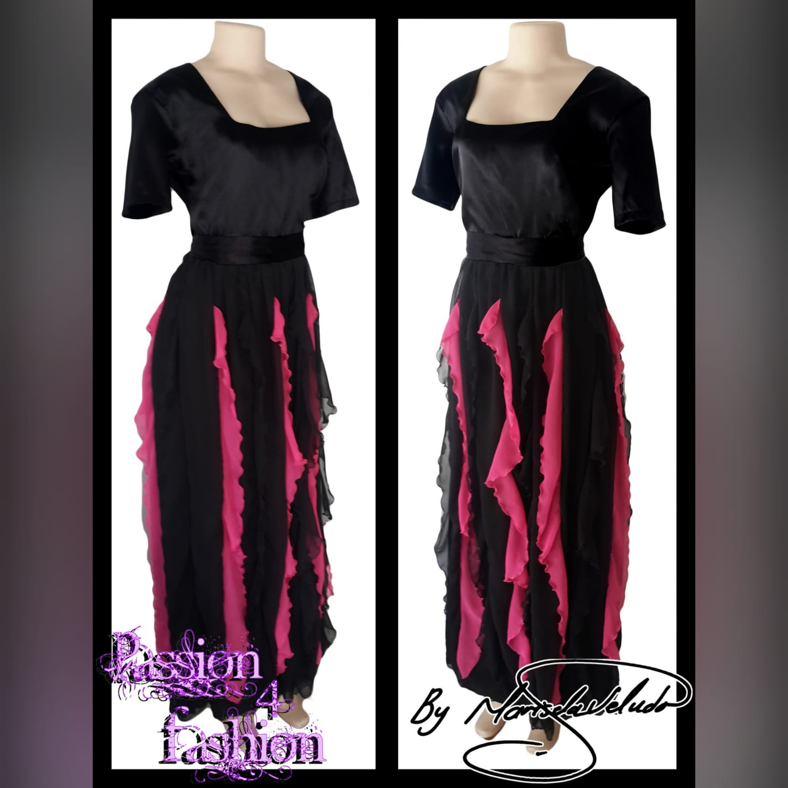 Black and pink evening dress 3 black & pink evening dress with square neckline short sleeves & vertical pink and black frills
