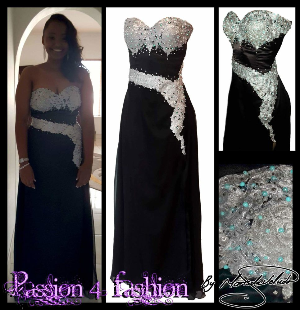 Black and silver prom dress with a corset fit bodice. Lace up back. Flowy with a slit. Embelished with silver lace