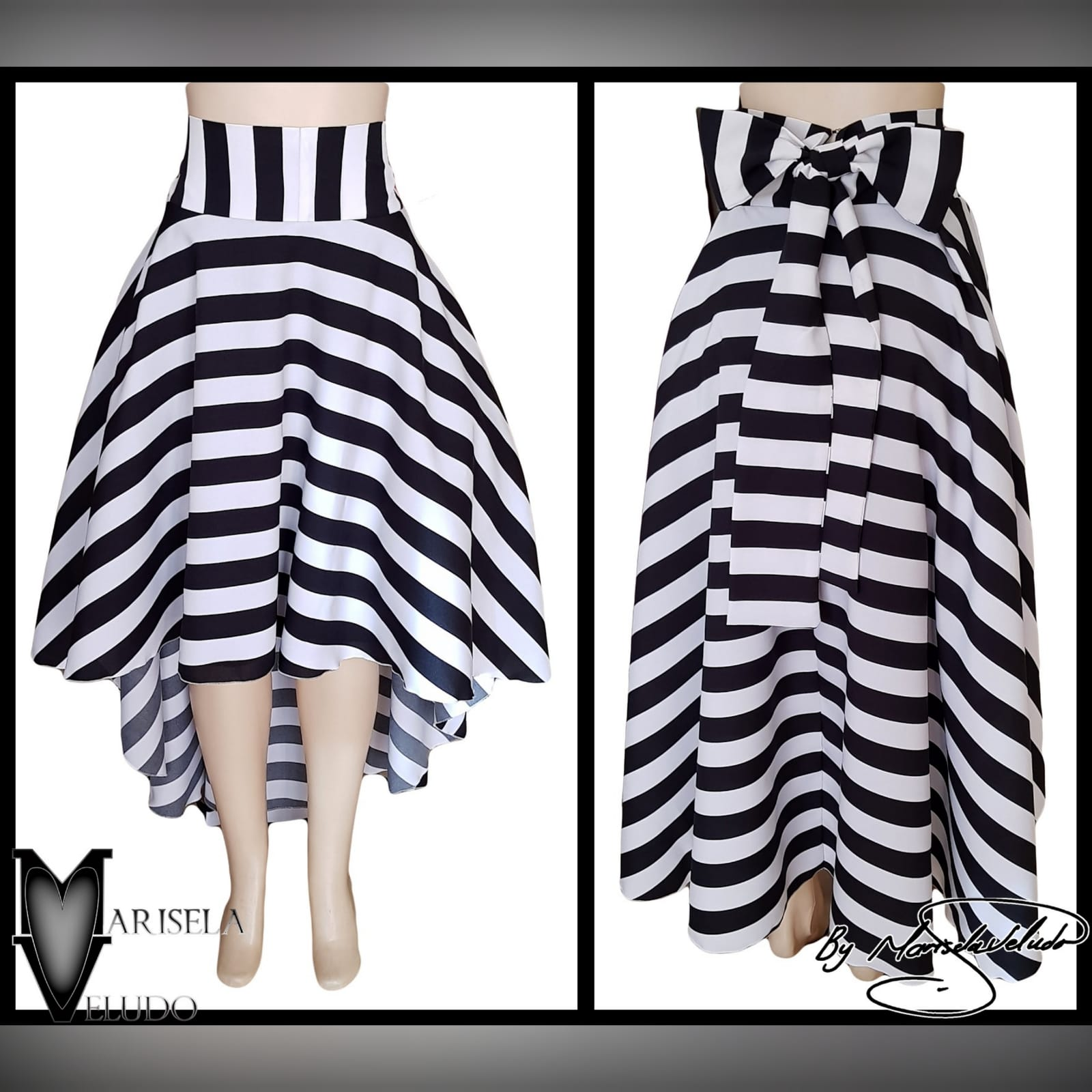 Black and white horizontal striped smart casual skirt 2 black and white horizontal striped high low, high waist smart casual skirt with bow detail on the back.