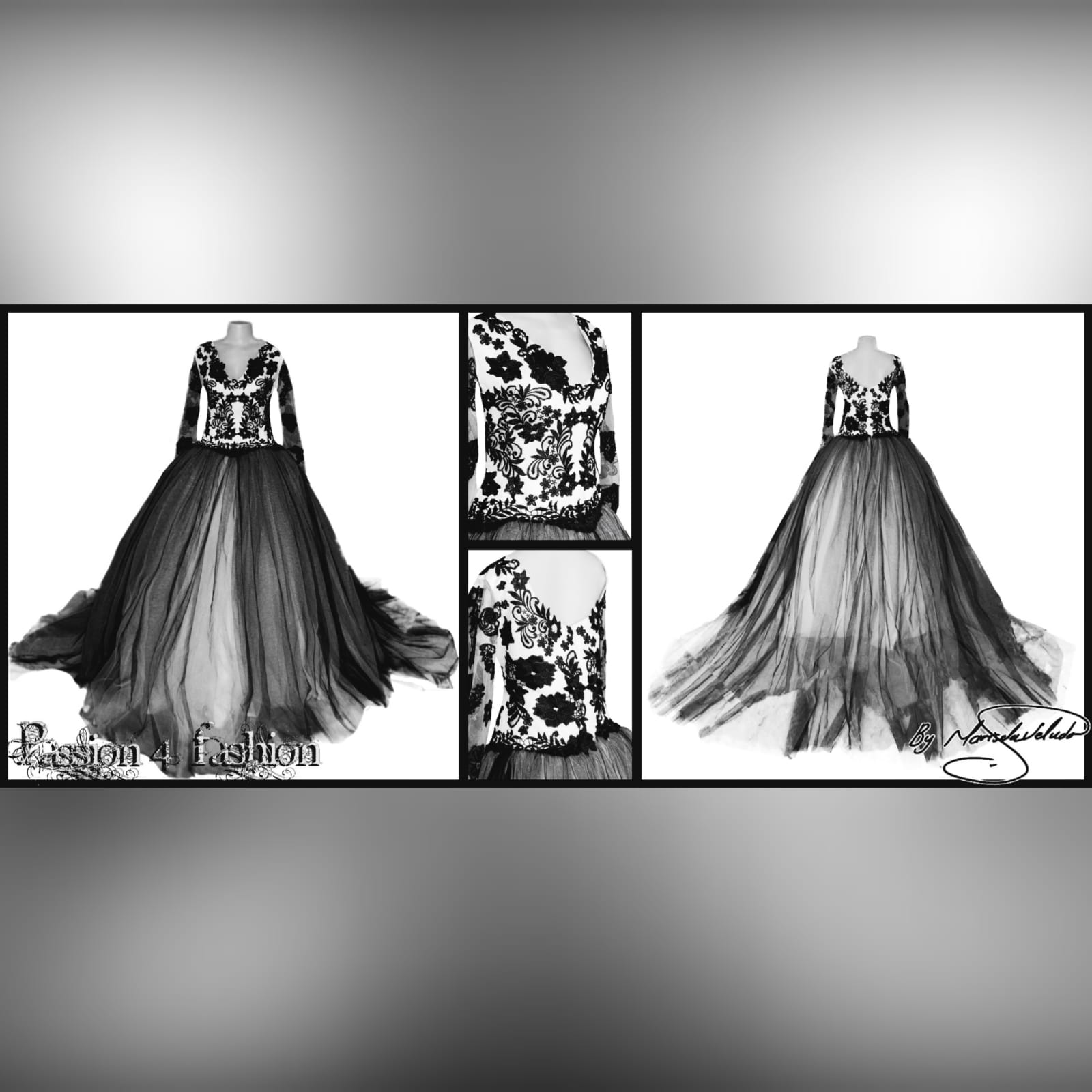 Black and white plus size ball gown wedding dress 2 black and white plus size ball gown wedding dress, bodice in white, detailed with black lace. Illusion lace long sleeves with a poofy black and white tulle bottom. With a train.