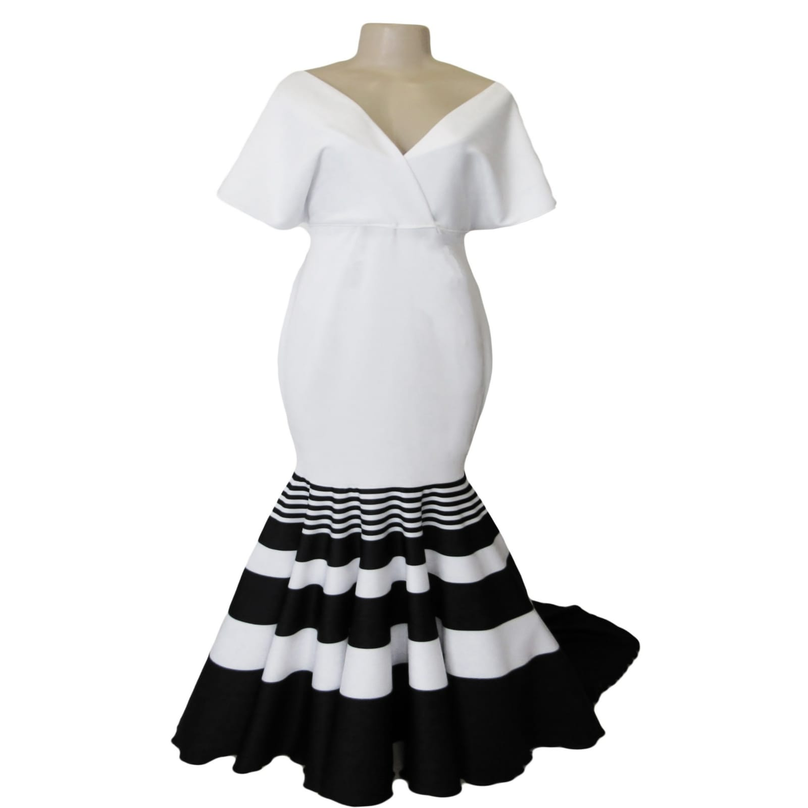 Black and white striped soft mermaid prom dress 6 black and white striped soft mermaid prom dress with a train. With a cross bust neckline with wide shoulders creating a wide short sleeve. The print is known as a traditional xhosa print in south africa.