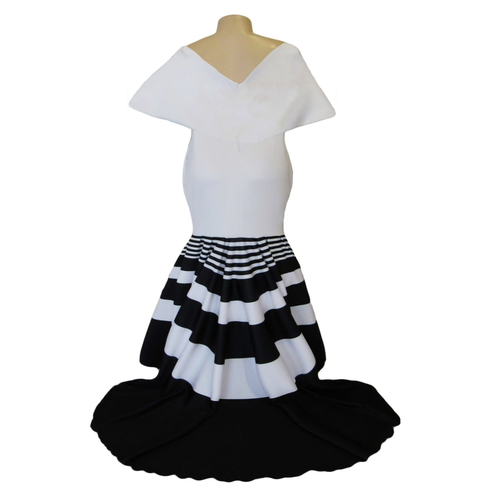 Black and white striped soft mermaid prom dress 5 black and white striped soft mermaid prom dress with a train. With a cross bust neckline with wide shoulders creating a wide short sleeve. The print is known as a traditional xhosa print in south africa.