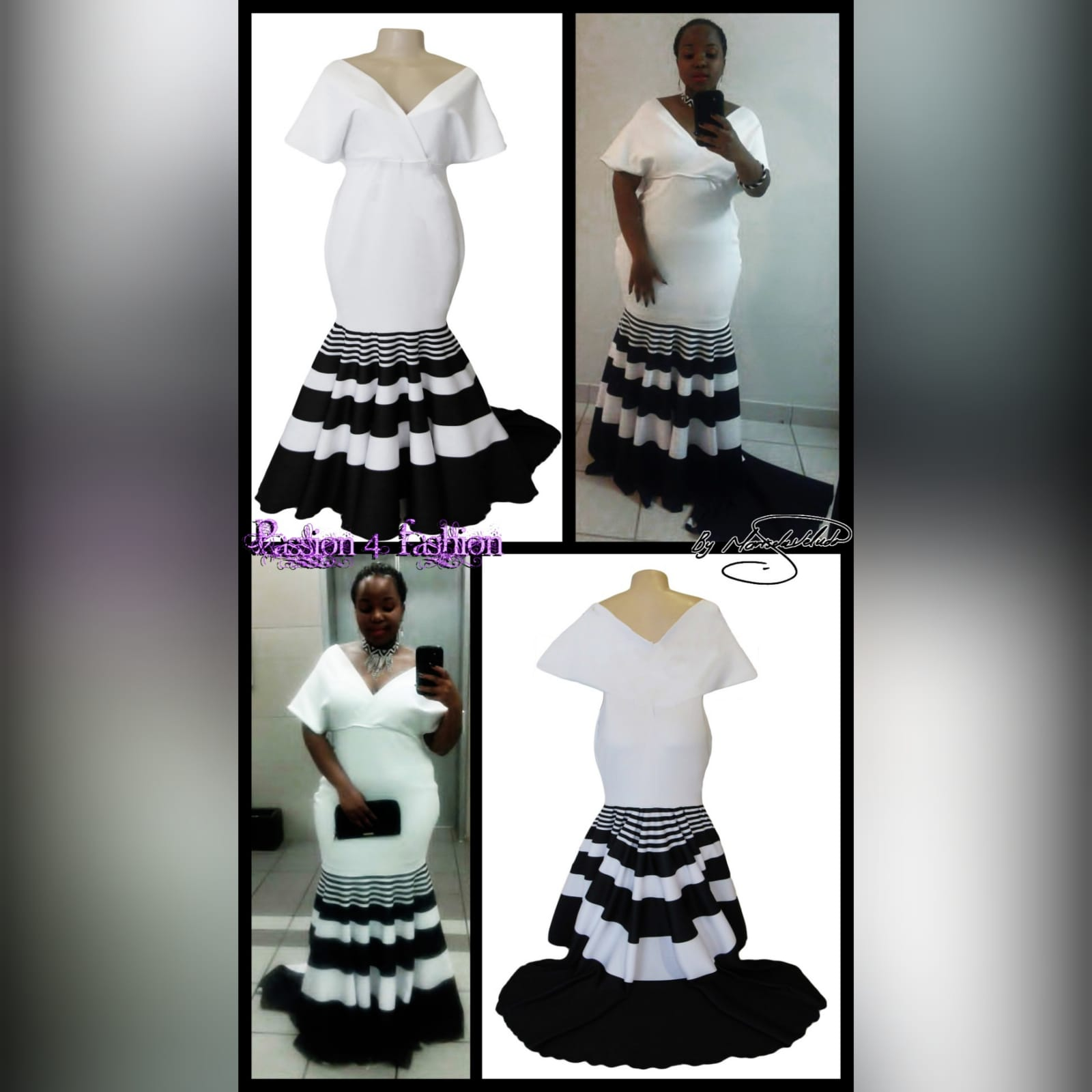 Black and white striped soft mermaid prom dress 4 black and white striped soft mermaid prom dress with a train. With a cross bust neckline with wide shoulders creating a wide short sleeve. The print is known as a traditional xhosa print in south africa.