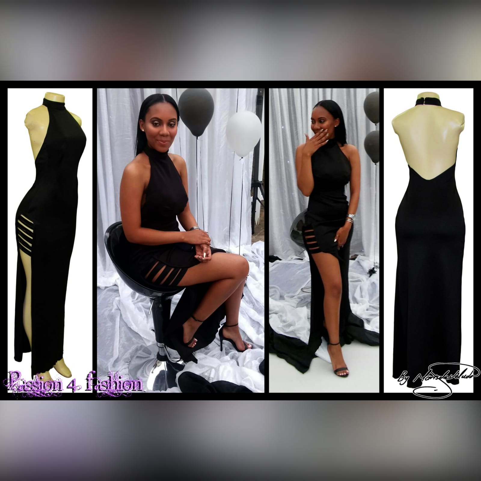 Black backless choker neckline formal dress 2 black backless choker neckline formal dress, straight fit with a high slit and strap detailing.