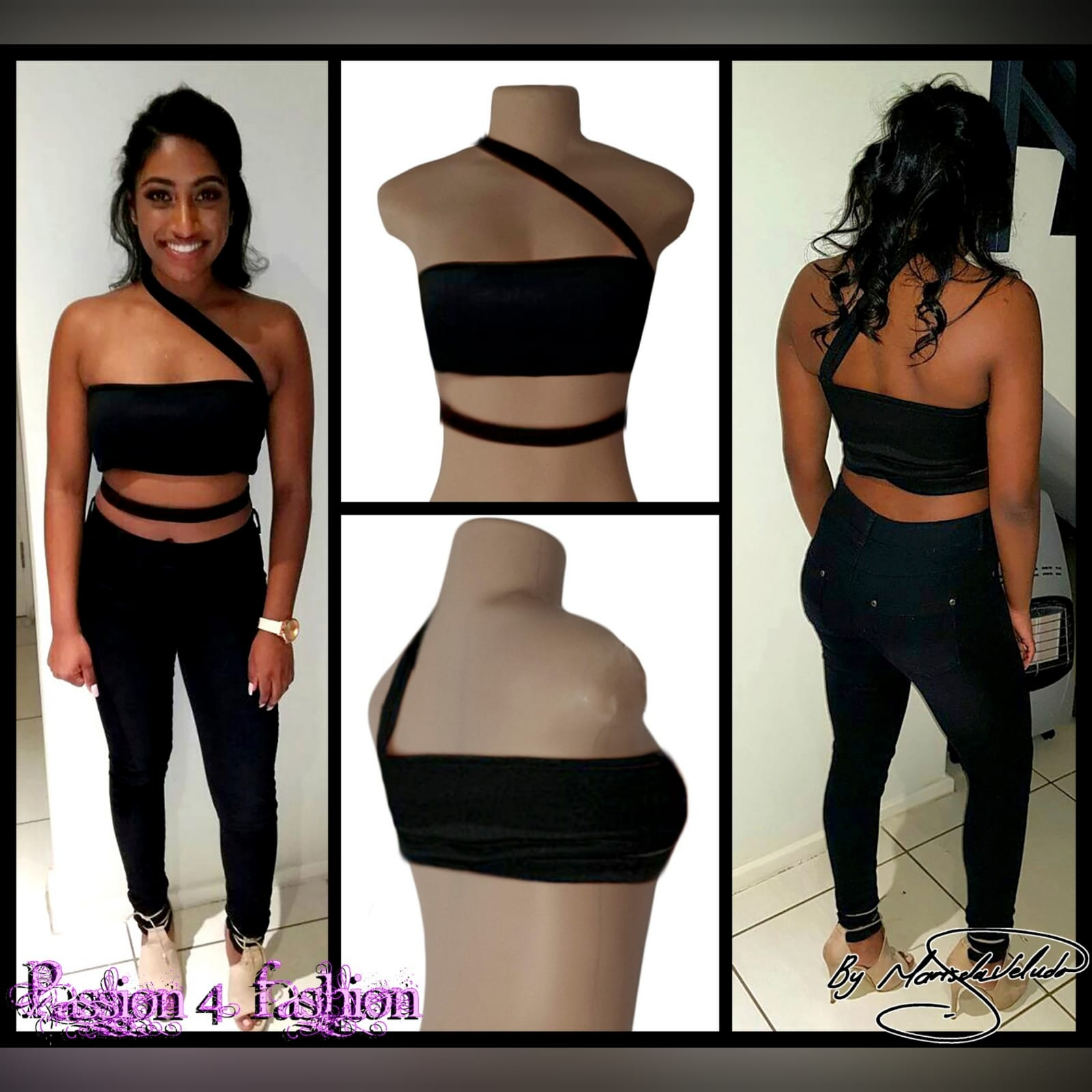 Black boob tube casual top 2 black boobtube casual top with strap detail on tummy and angular strap over the shoulder