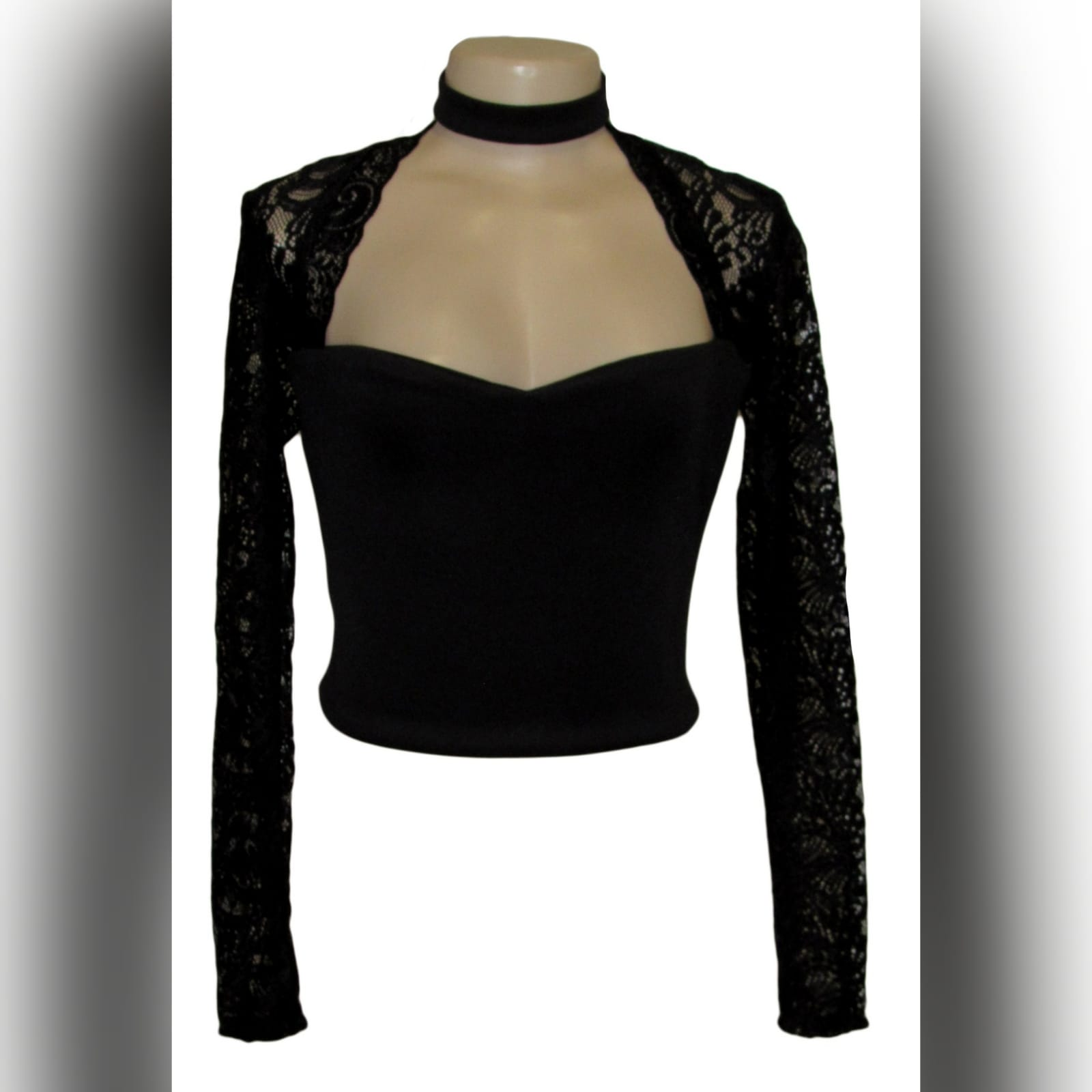 Black choker neckline prom after party crop top 1 black choker neckline matric after party crop top. With shoulders and long lace sleeves
