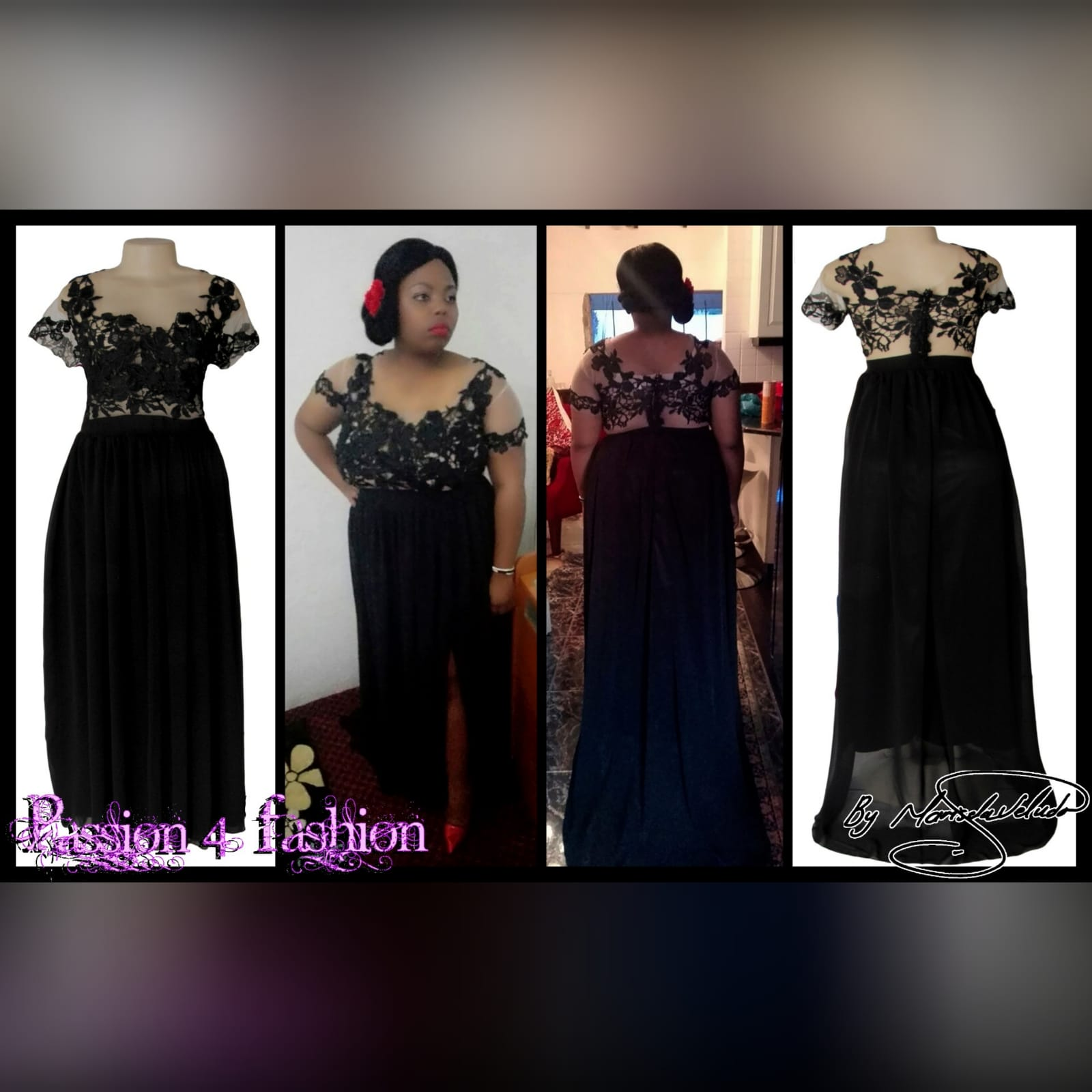 Black flowy lace bodice evening dress 3 black flowy lace bodice evening dress, an illusion bodice with an off shoulder effect. Back detailed with covered buttons