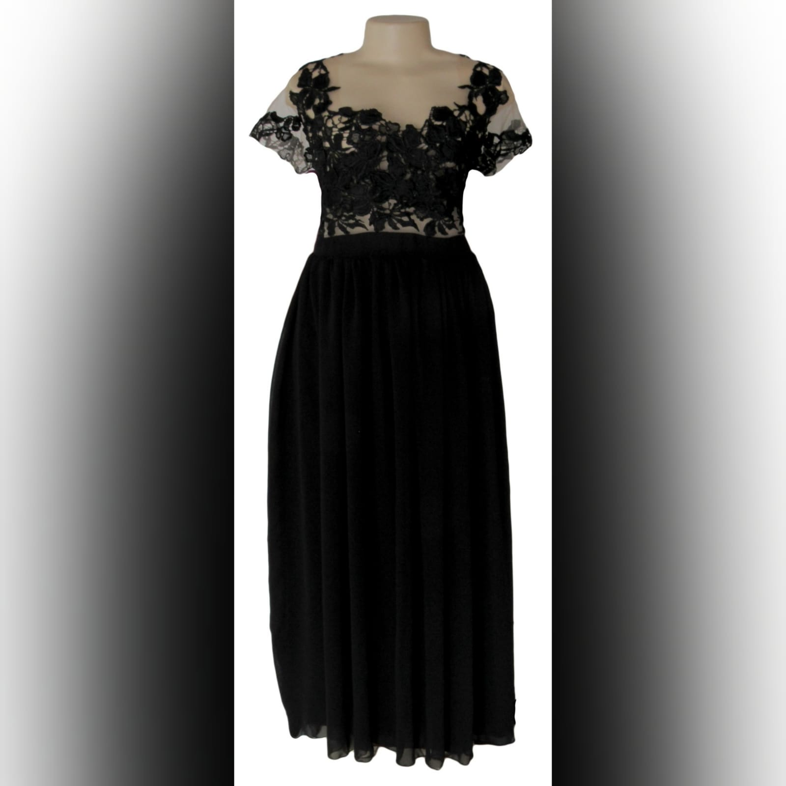 Black flowy lace bodice evening dress 6 black flowy lace bodice evening dress, an illusion bodice with an off shoulder effect. Back detailed with covered buttons