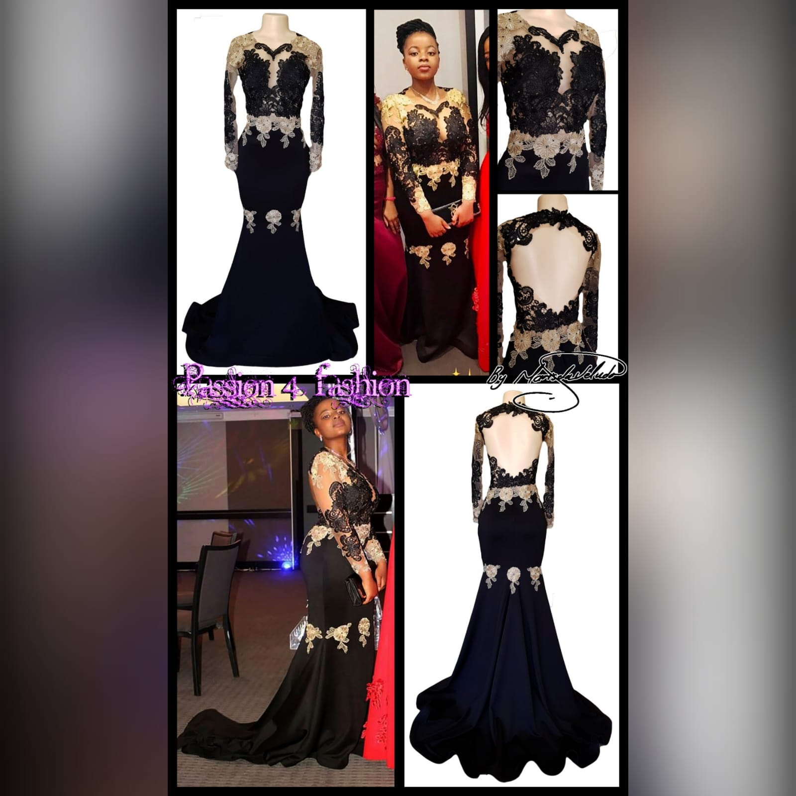 Black & gold soft mermaid prom dress 2 black & gold soft mermaid prom dress with an illusion lace bodice and long sleeves. With an open back and a train. Lace detailed with beads.